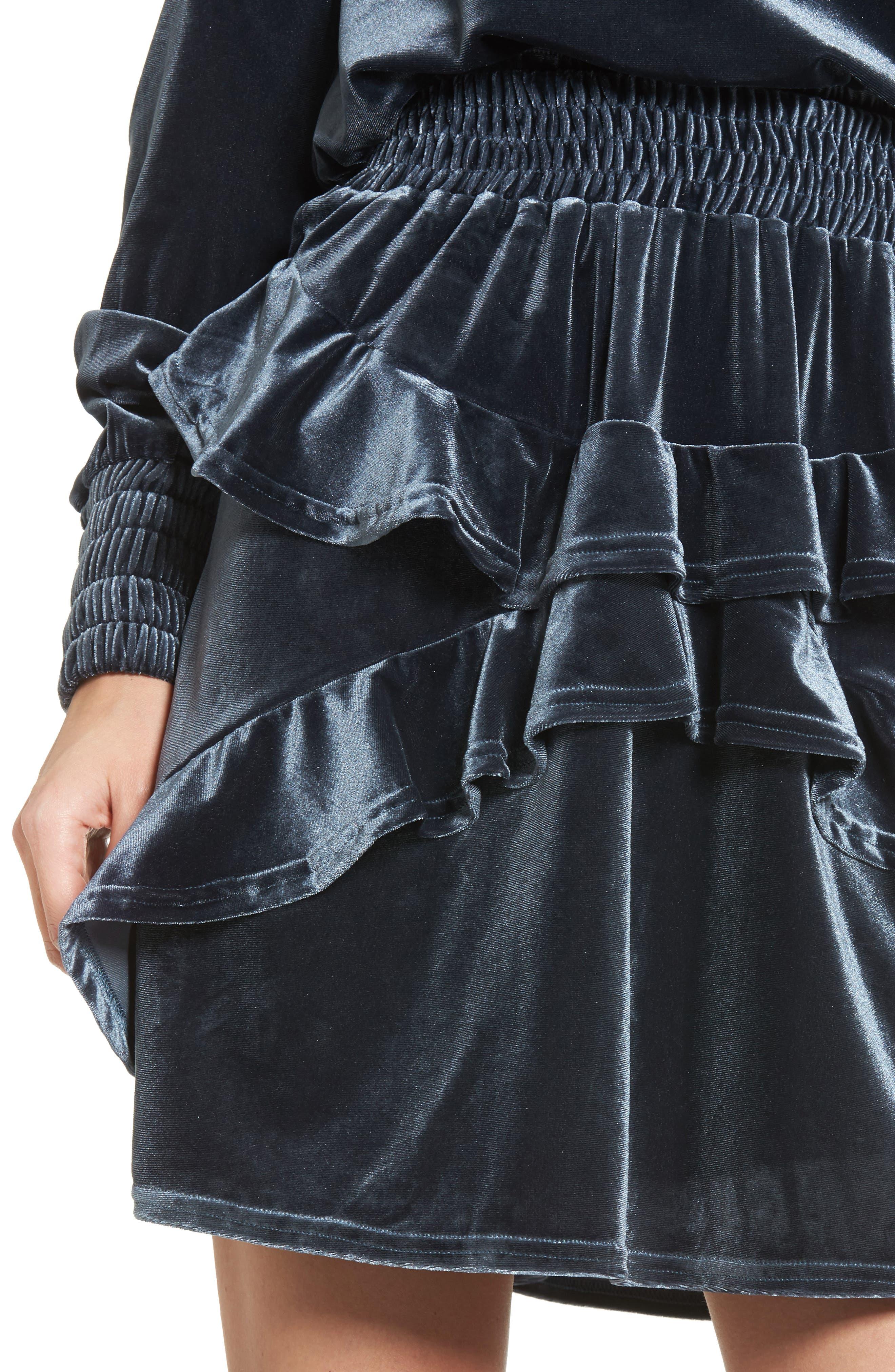 Exhibition Ruffle Velvet Skirt,                             Alternate thumbnail 5, color,                             Slate