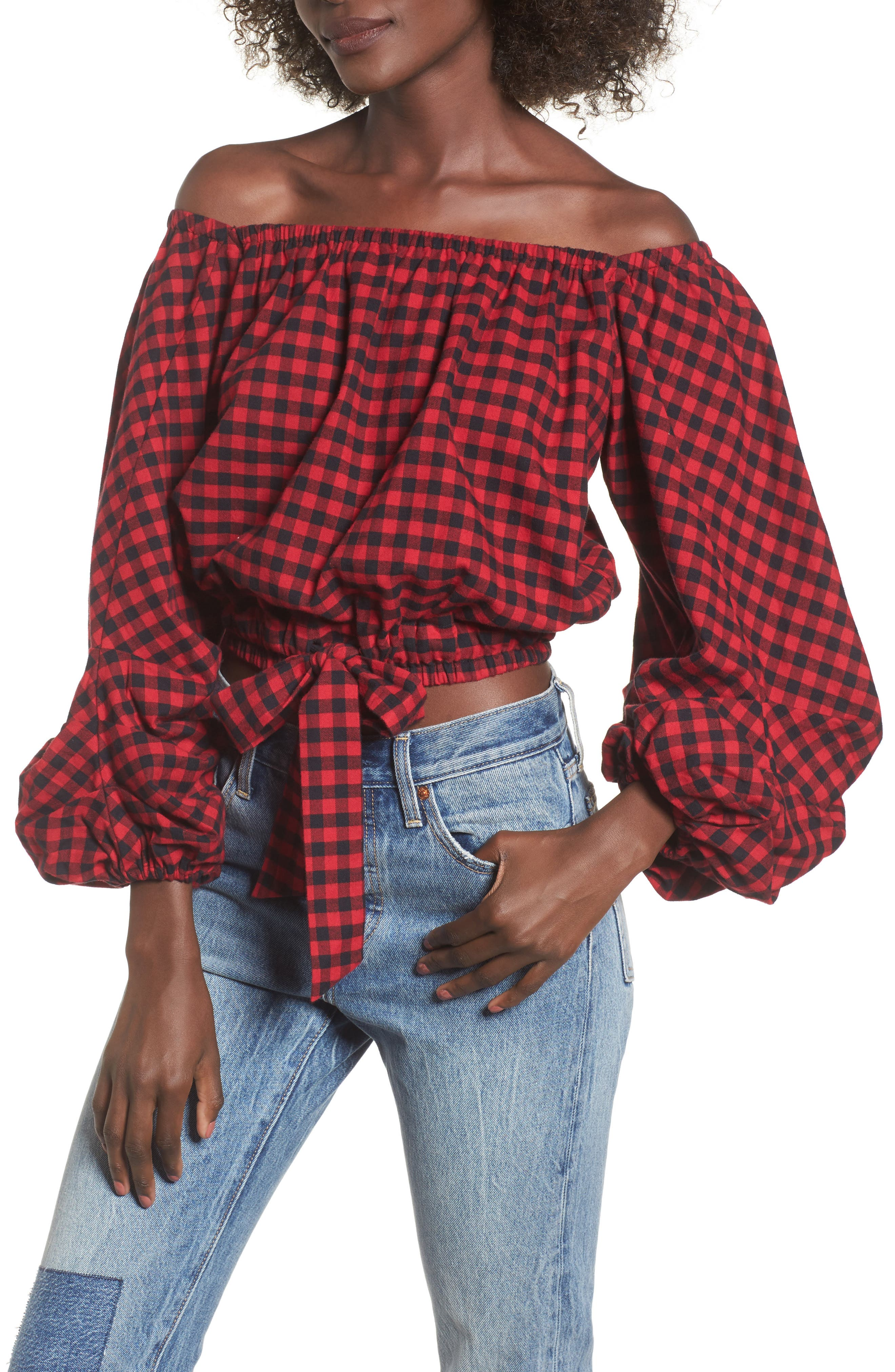 Plaid Off the Shoulder Crop Top,                         Main,                         color, Red/ Black
