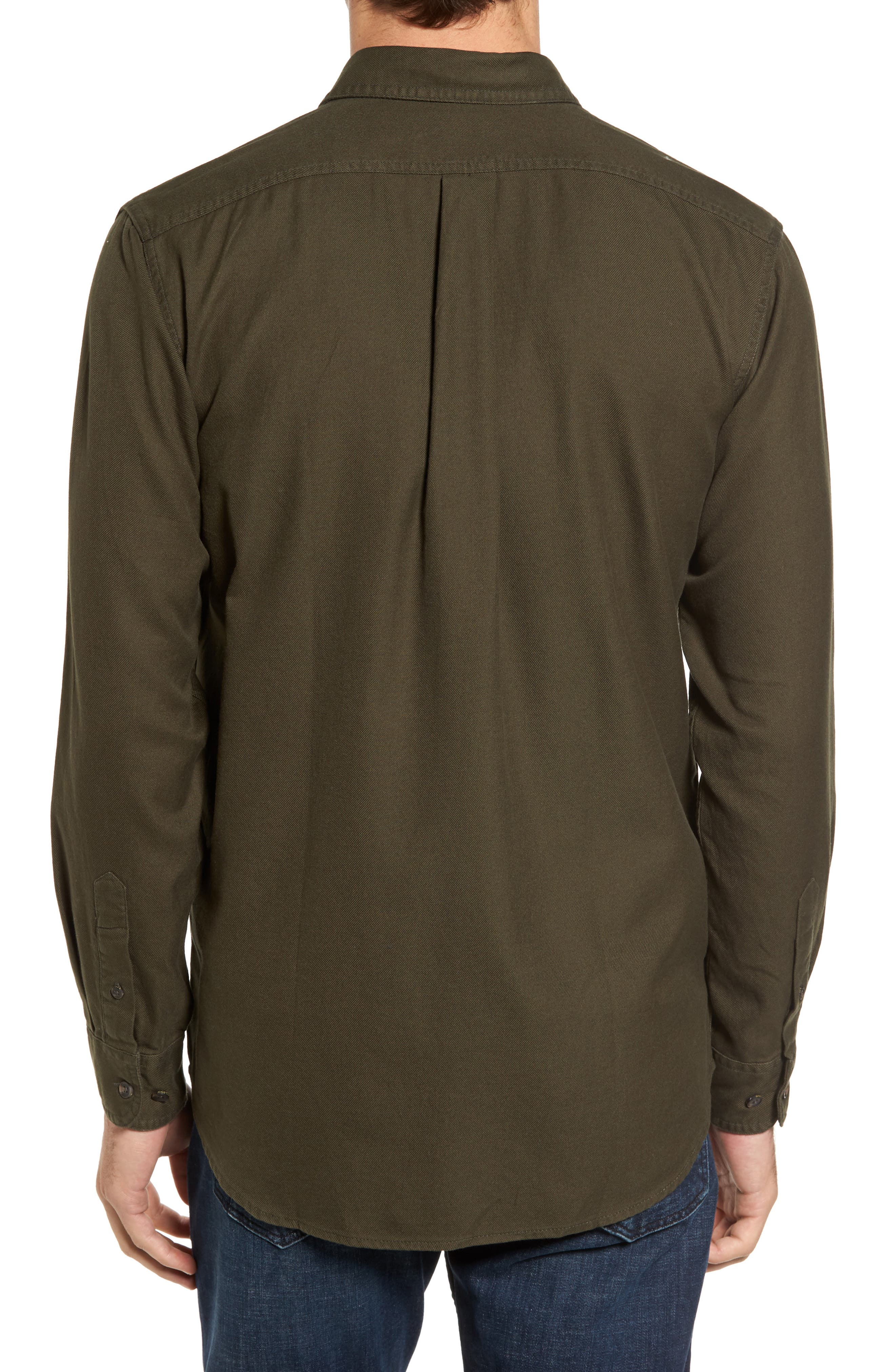 Alaskan Guide Regular Fit Twill Shirt,                             Alternate thumbnail 2, color,                             Brunswick Green