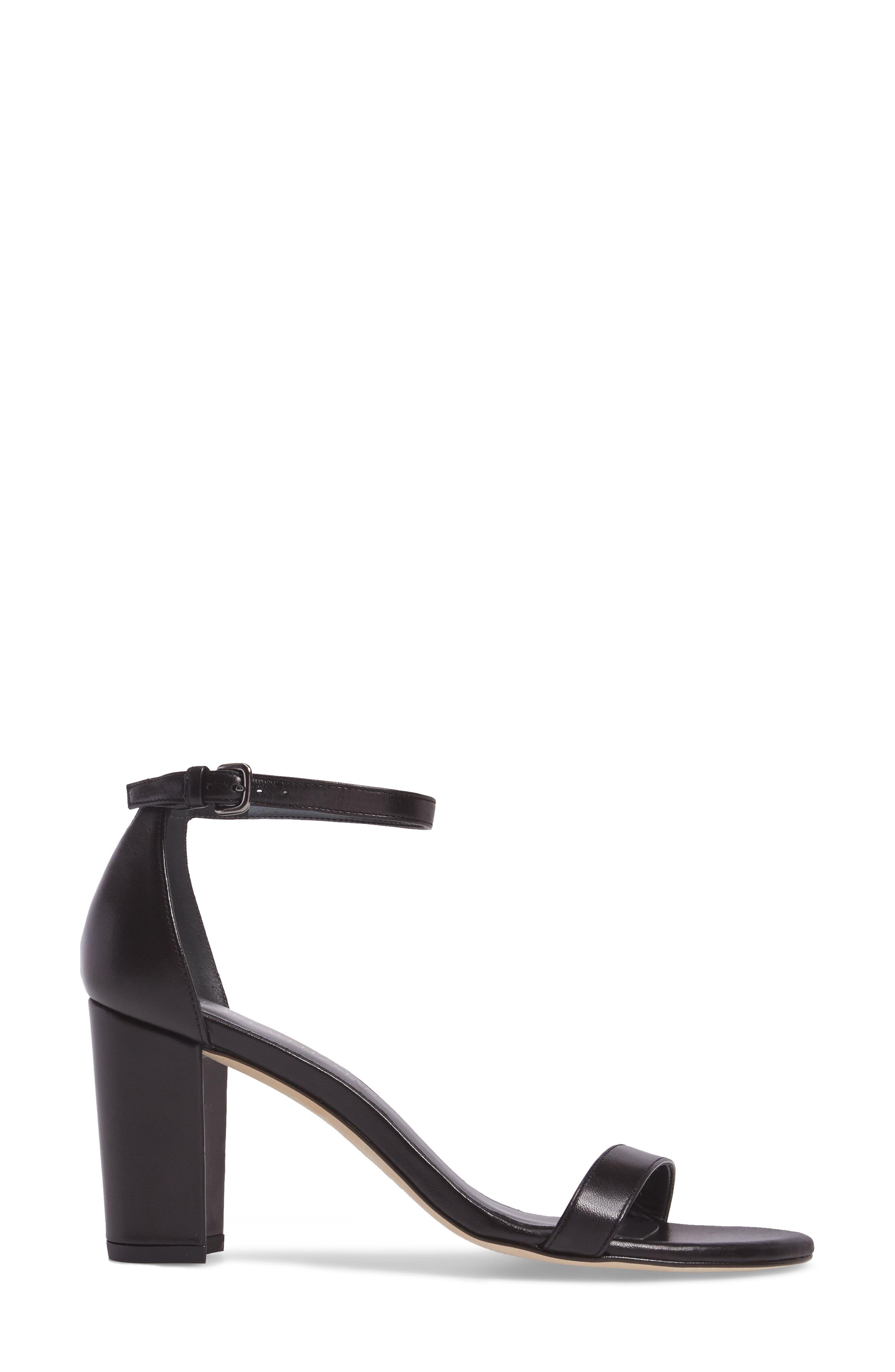 NearlyNude Ankle Strap Sandal,                             Alternate thumbnail 6, color,                             Black Nappa