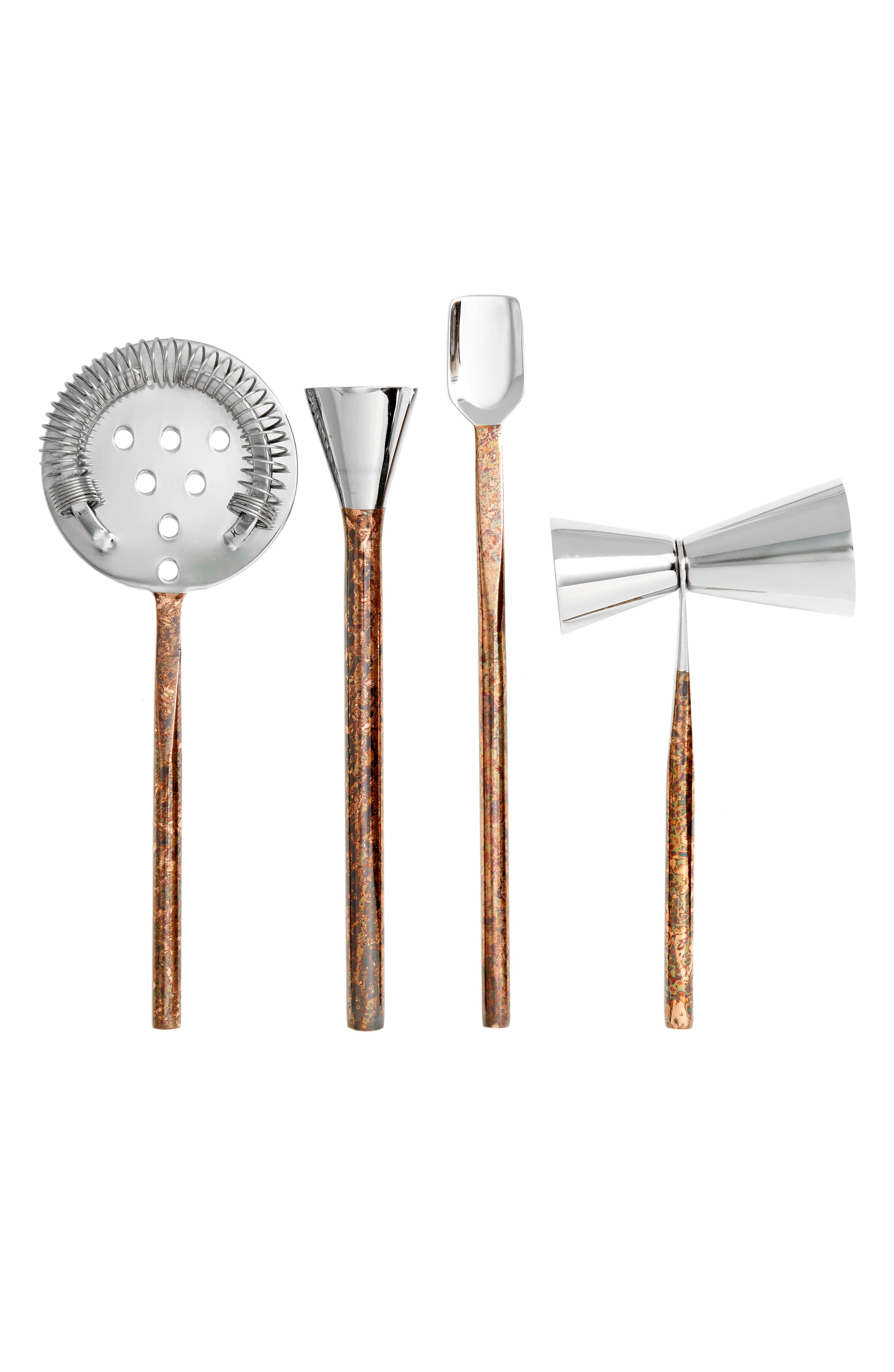 4-Piece Distressed Copper & Stainless Steel Bar Set,                         Main,                         color, Brushed Copper