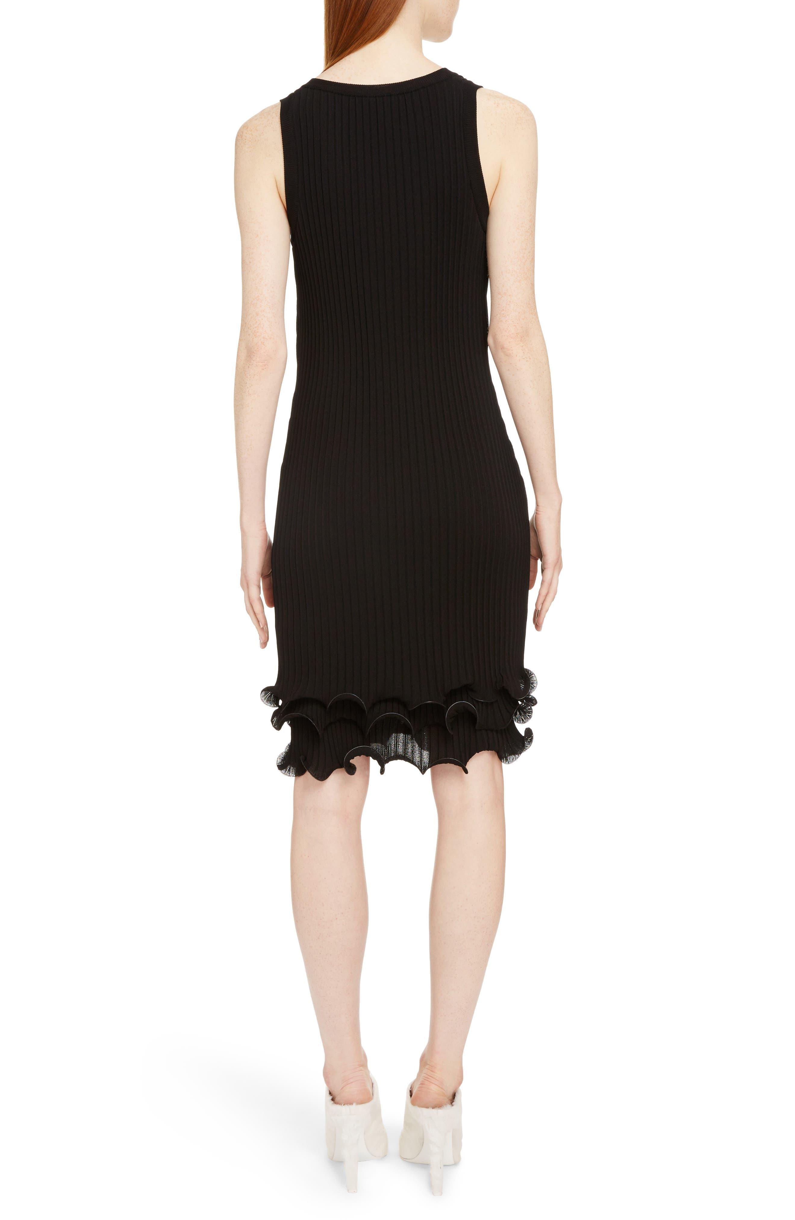Ribbed Ruffle Hem Dress,                             Alternate thumbnail 2, color,                             Black