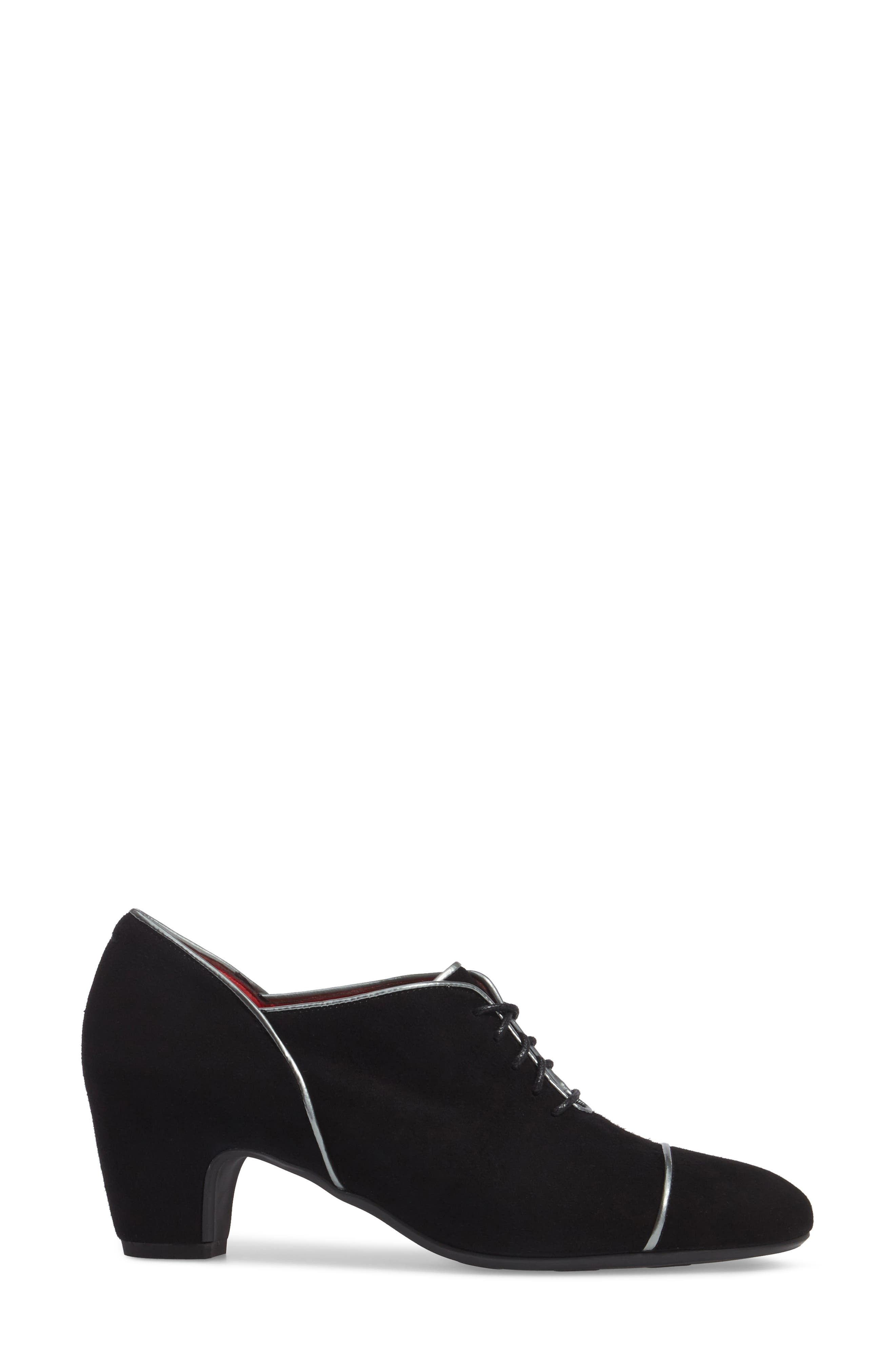 Lace-Up Pump,                             Alternate thumbnail 3, color,                             Black Suede/ Silver Leather