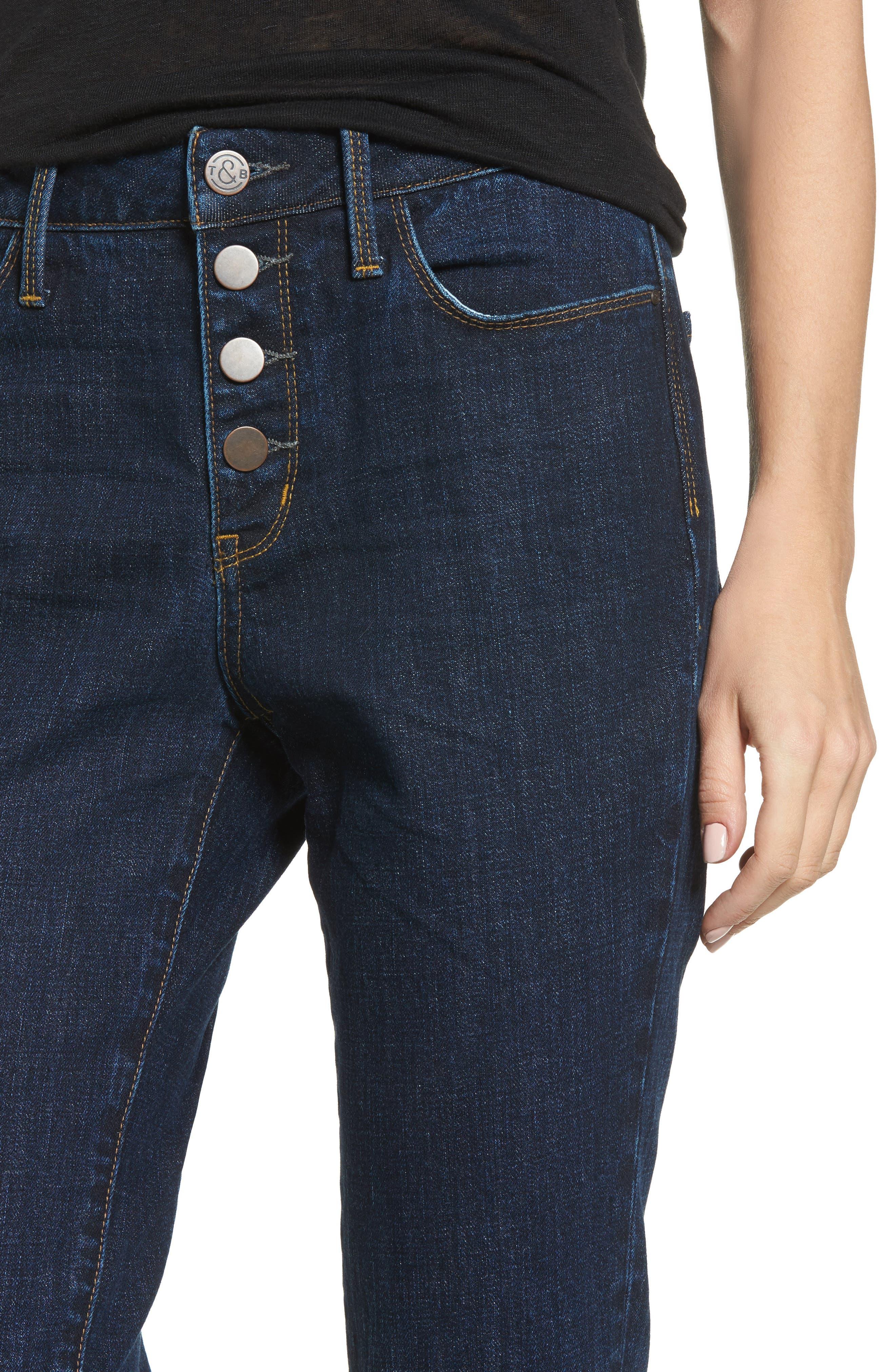 Alternate Image 4  - Treasure & Bond Bond Loose Fit Skinny Ankle Jeans (Granite Dark Vintage)