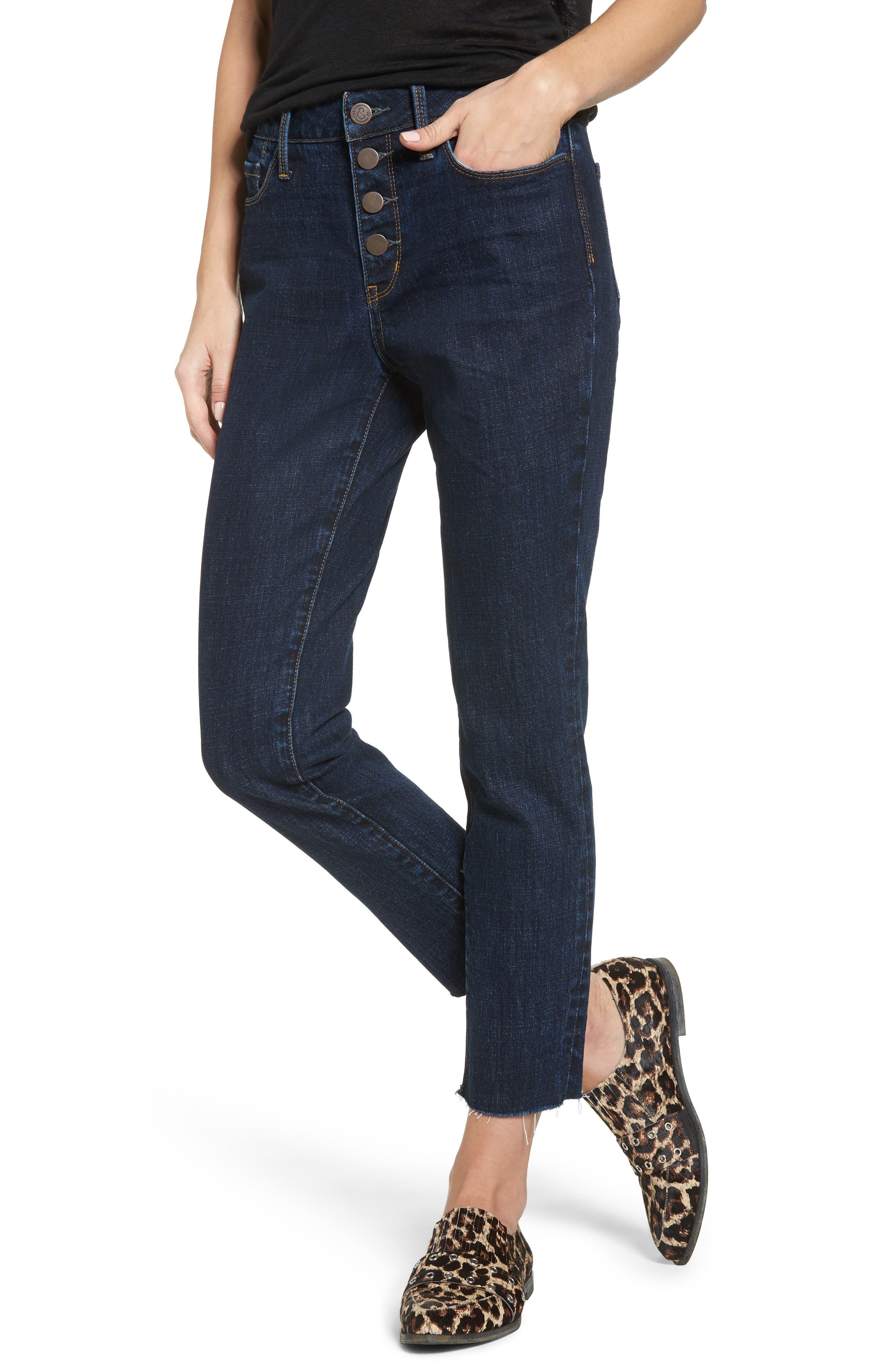 Alternate Image 1 Selected - Treasure & Bond Bond Loose Fit Skinny Ankle Jeans (Granite Dark Vintage)