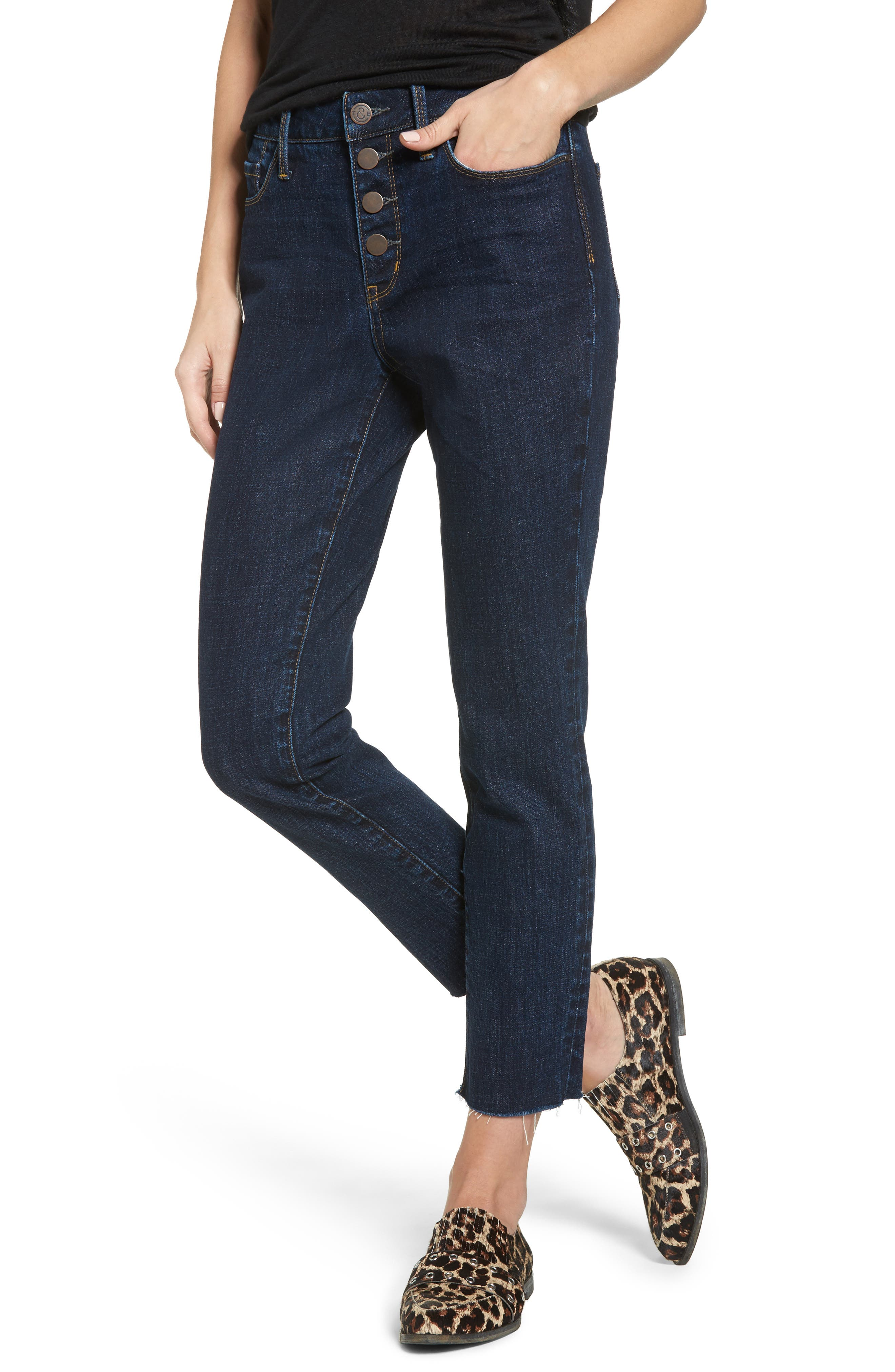Main Image - Treasure & Bond Bond Loose Fit Skinny Ankle Jeans (Granite Dark Vintage)