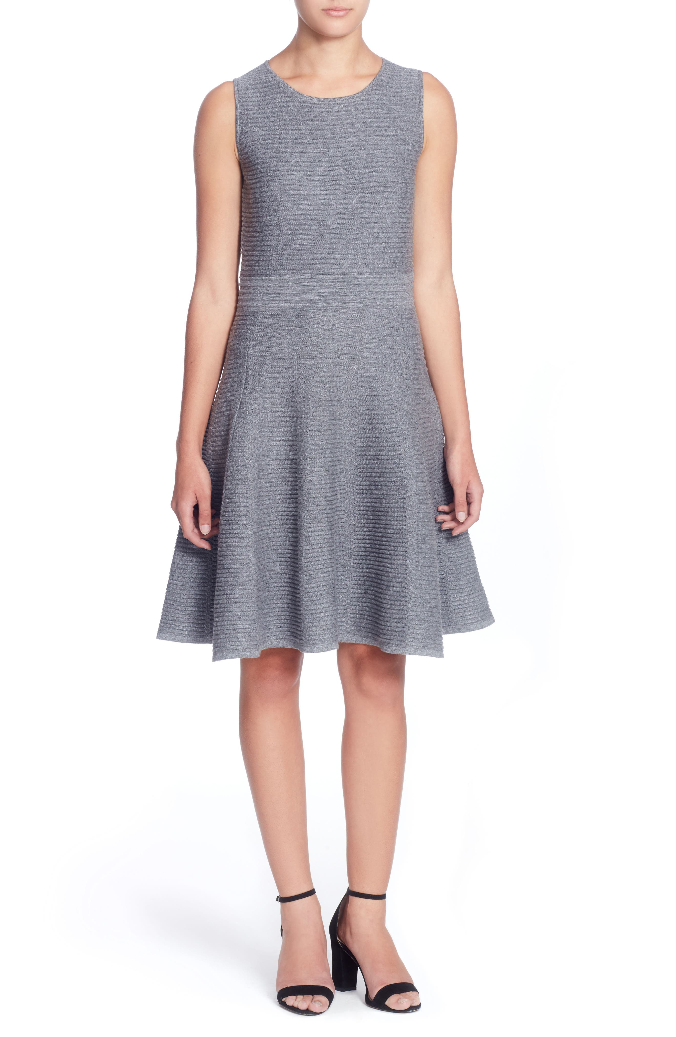 Trisha Fit & Flare Dress,                         Main,                         color, Grey