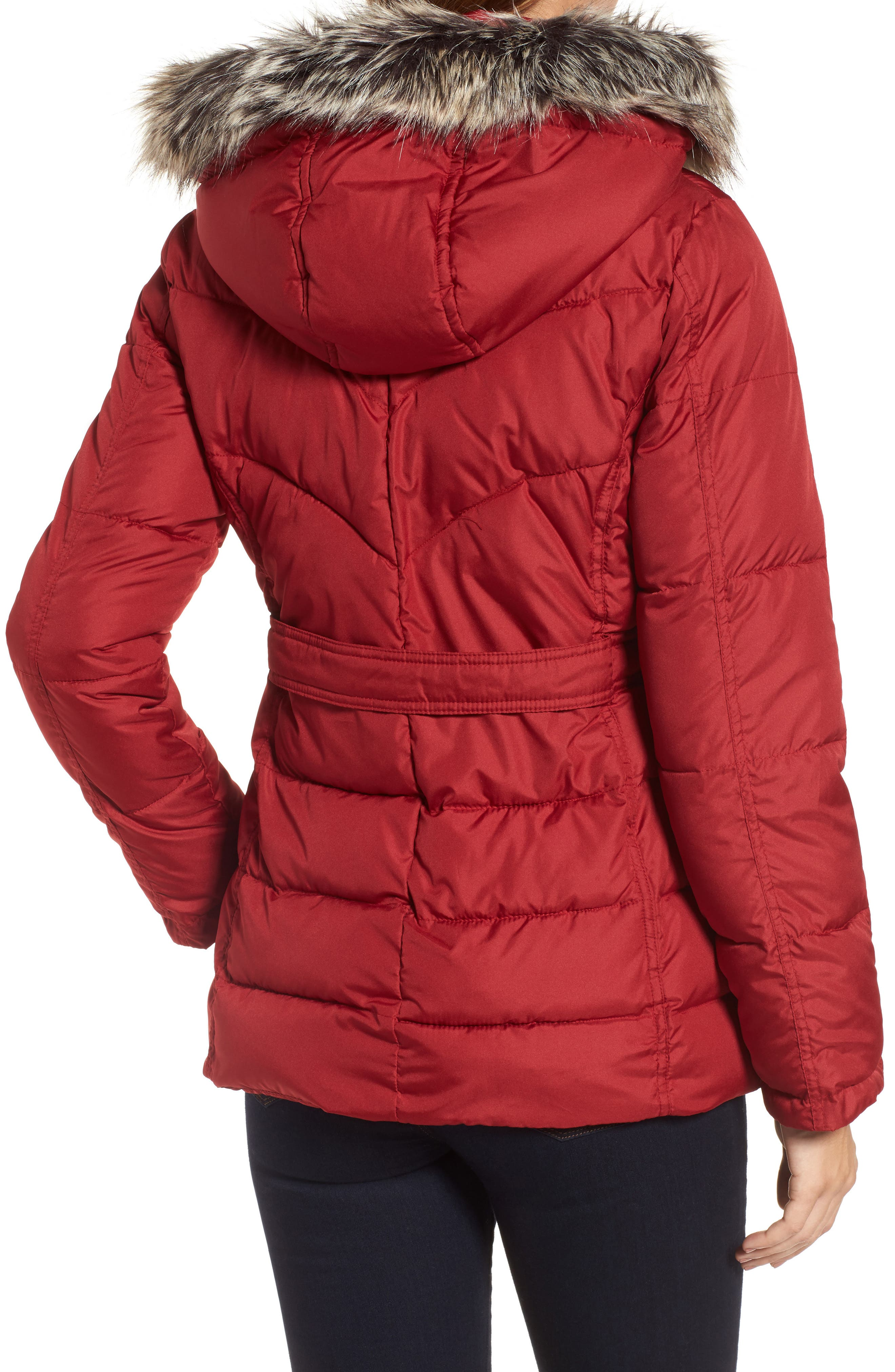 Quilted Coat with Faux Fur Trim,                             Alternate thumbnail 2, color,                             Brick