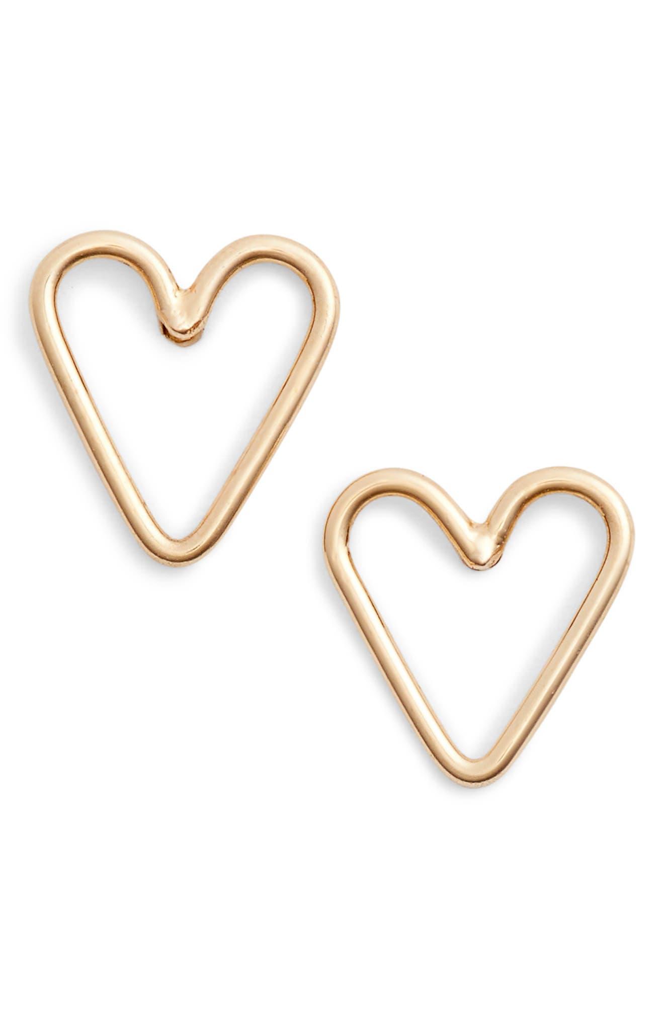Open Heart Stud Earrings,                         Main,                         color, Yellow Gold