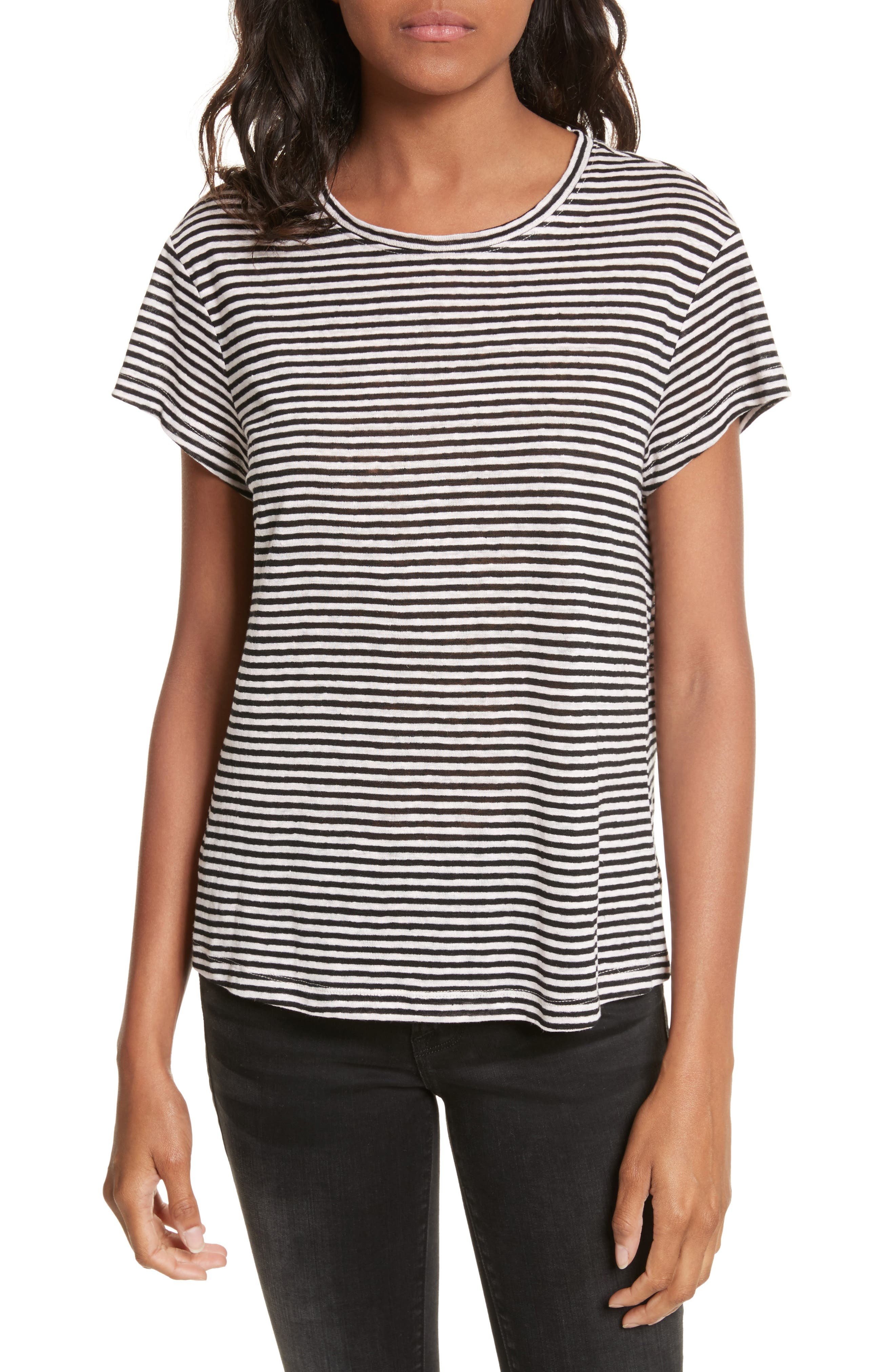 Main Image - FRAME Stripe Crew Tee (Nordstrom Exclusive)