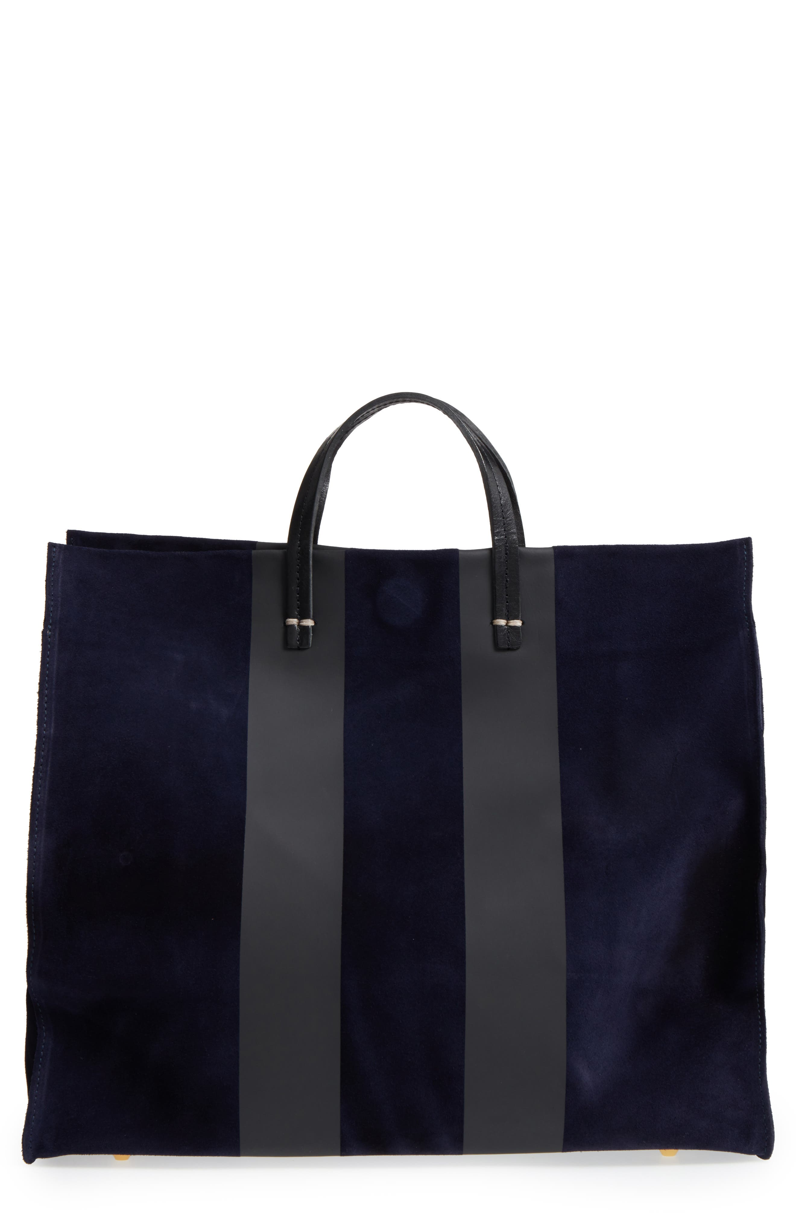 Simple Leather Tote,                         Main,                         color, Navy Suede