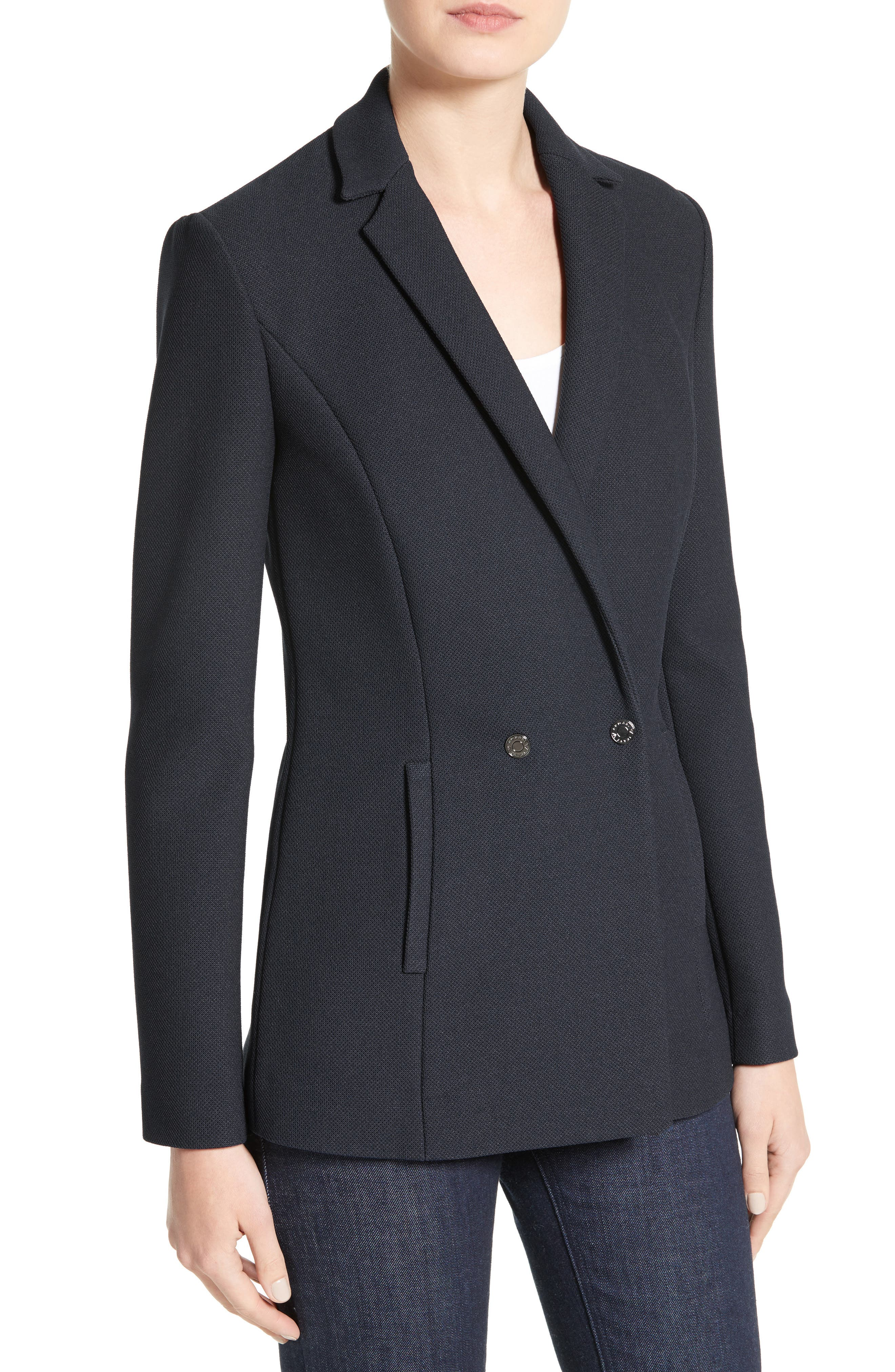 Armani Jeans Piqué Double Breasted Blazer,                             Alternate thumbnail 4, color,                             Navy