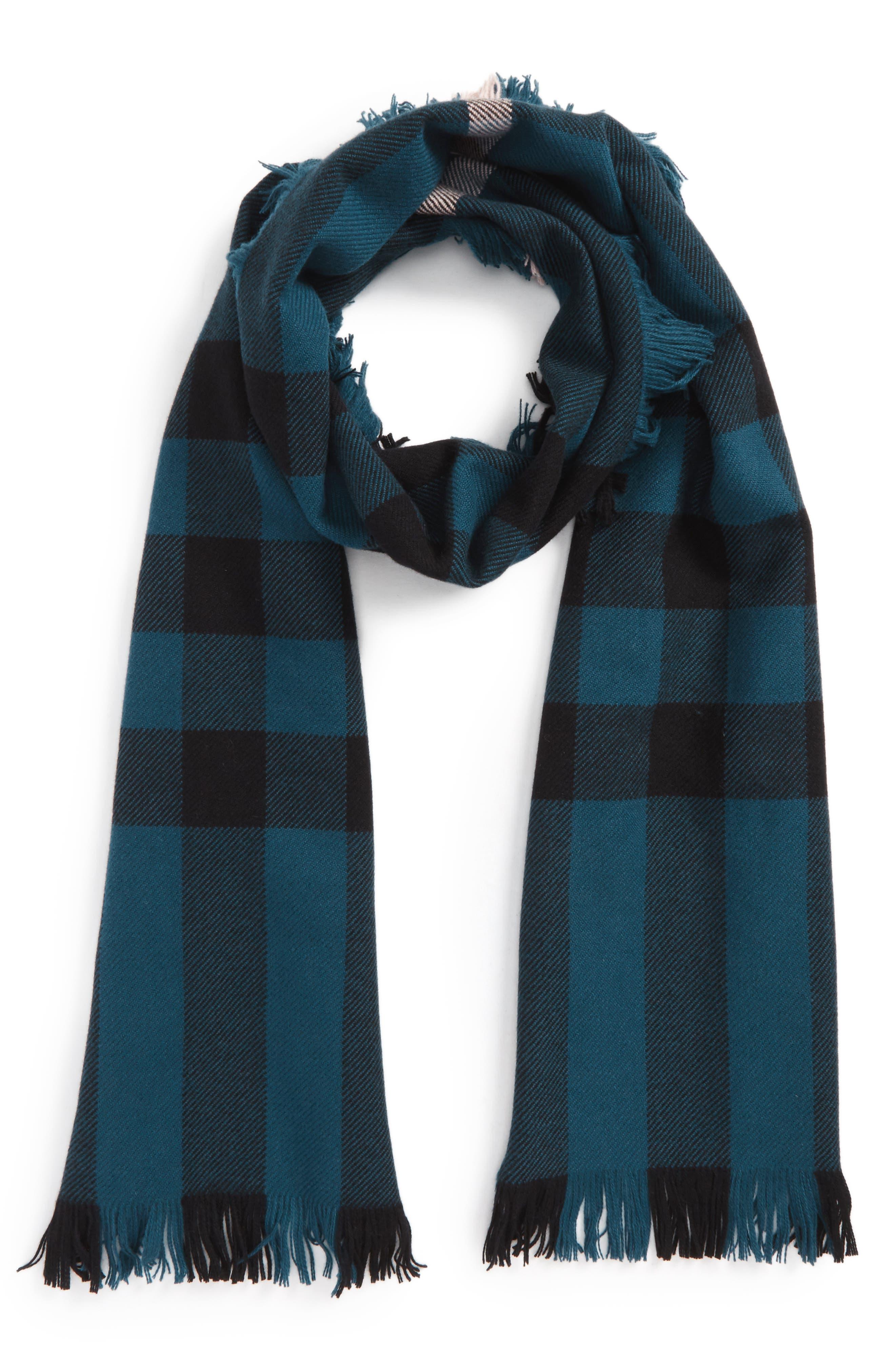 Half Mega Fashion Wool Fringe Scarf,                             Main thumbnail 1, color,                             Steel Blue