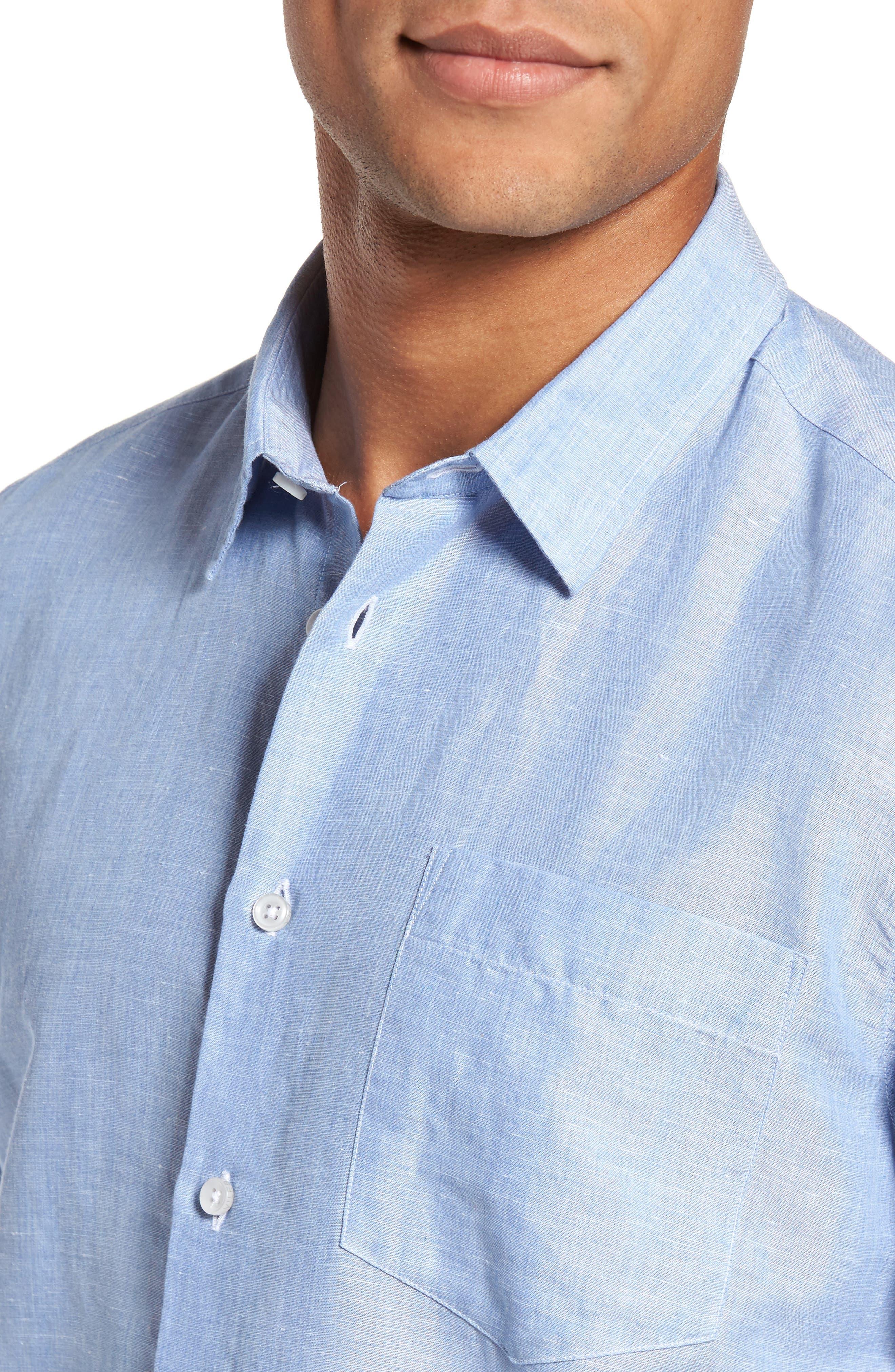 Linen & Cotton Sport Shirt,                             Alternate thumbnail 2, color,                             Blue Jean