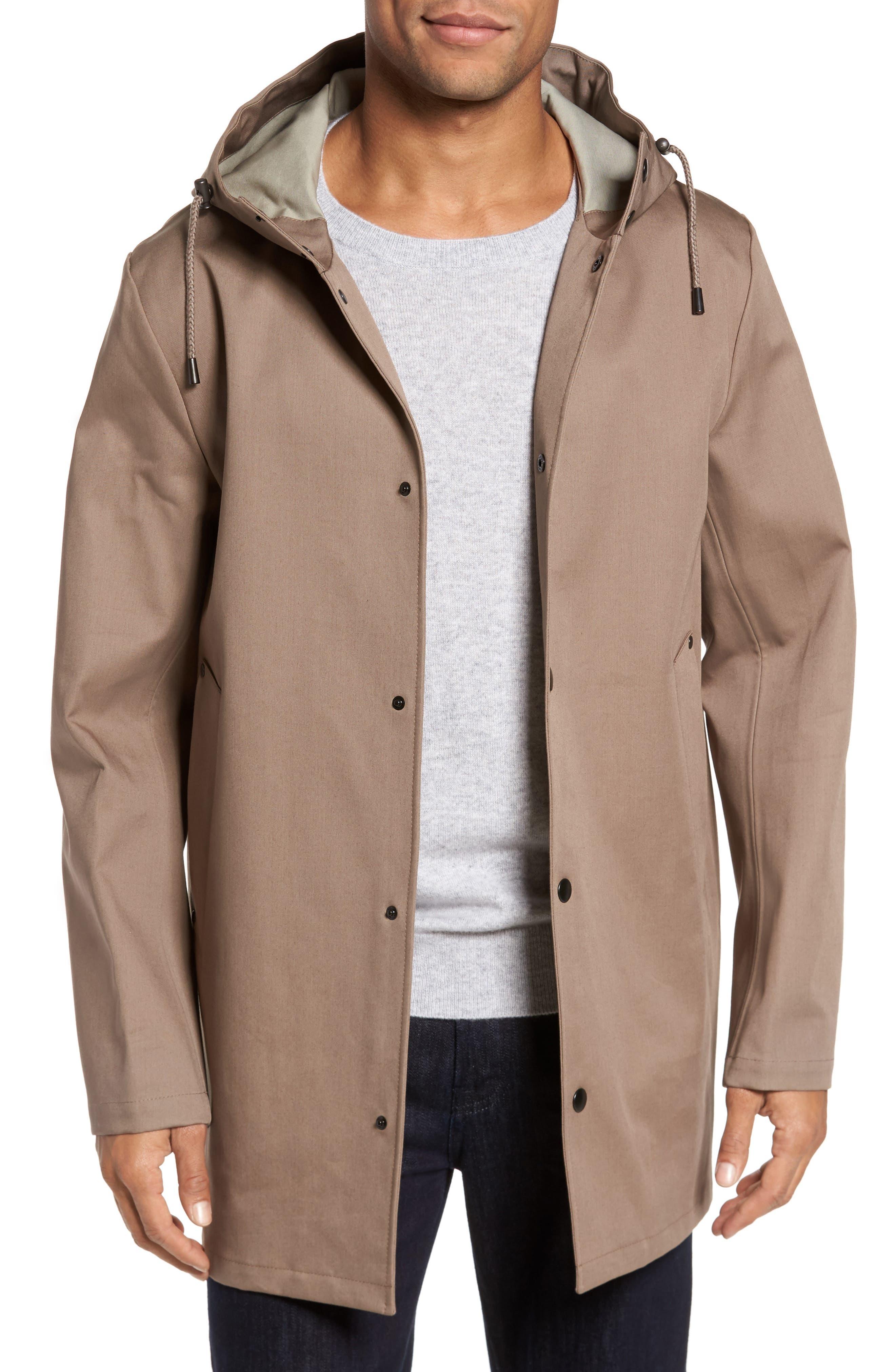 Stockholm Bonded Waterproof Hooded Raincoat,                             Main thumbnail 1, color,                             Mole