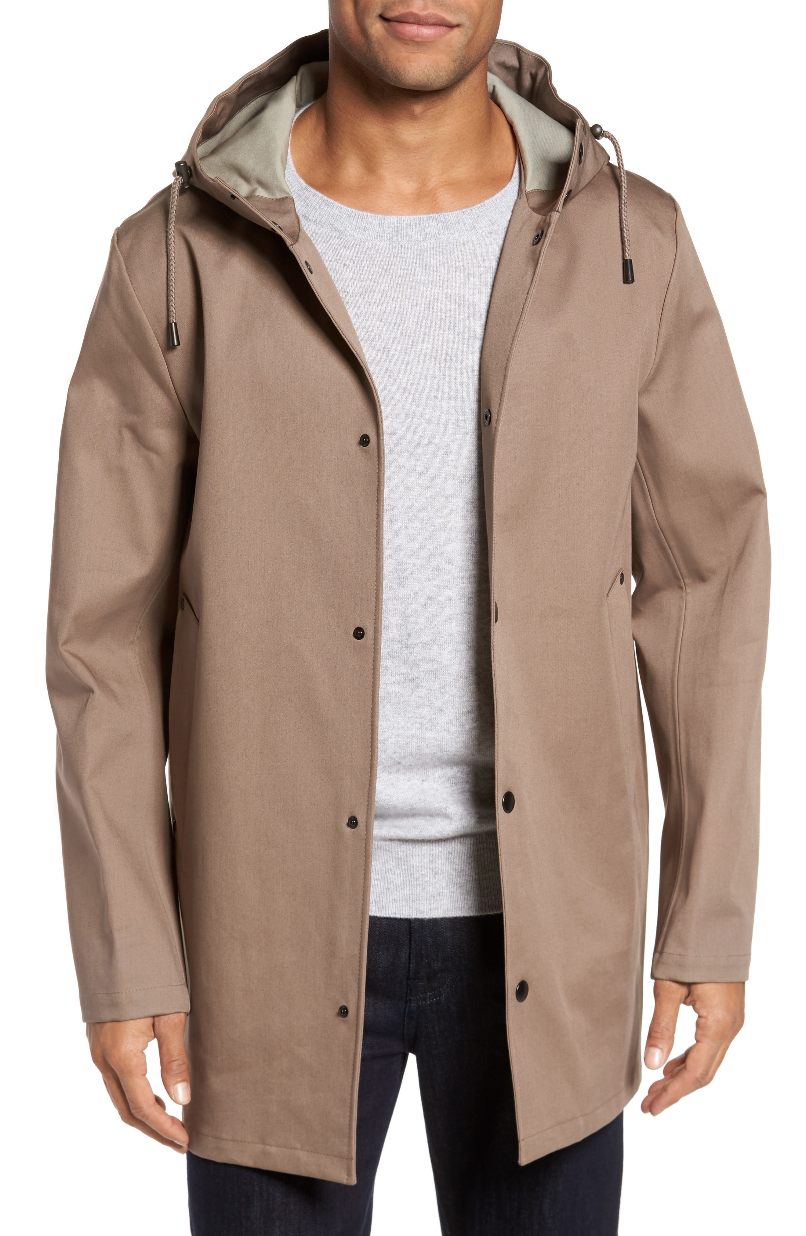 Stockholm Bonded Waterproof Hooded Raincoat,                         Main,                         color, Mole