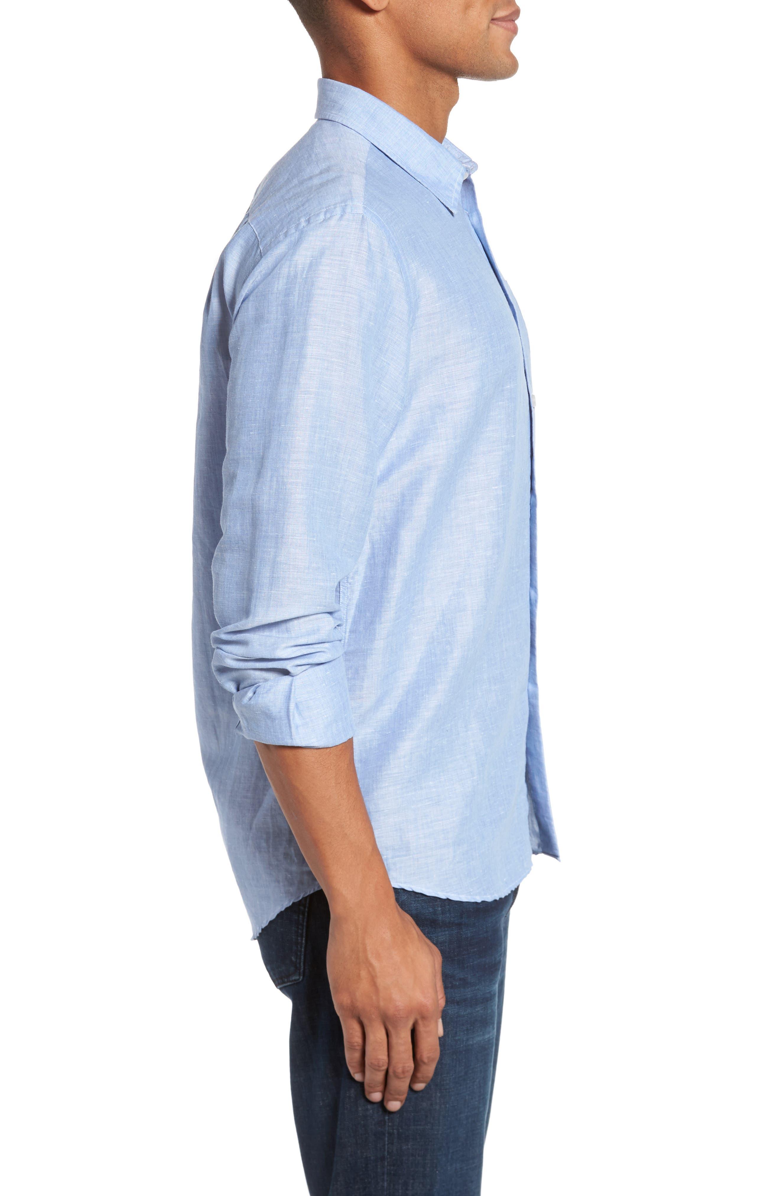 Linen & Cotton Sport Shirt,                             Alternate thumbnail 4, color,                             Blue Jean