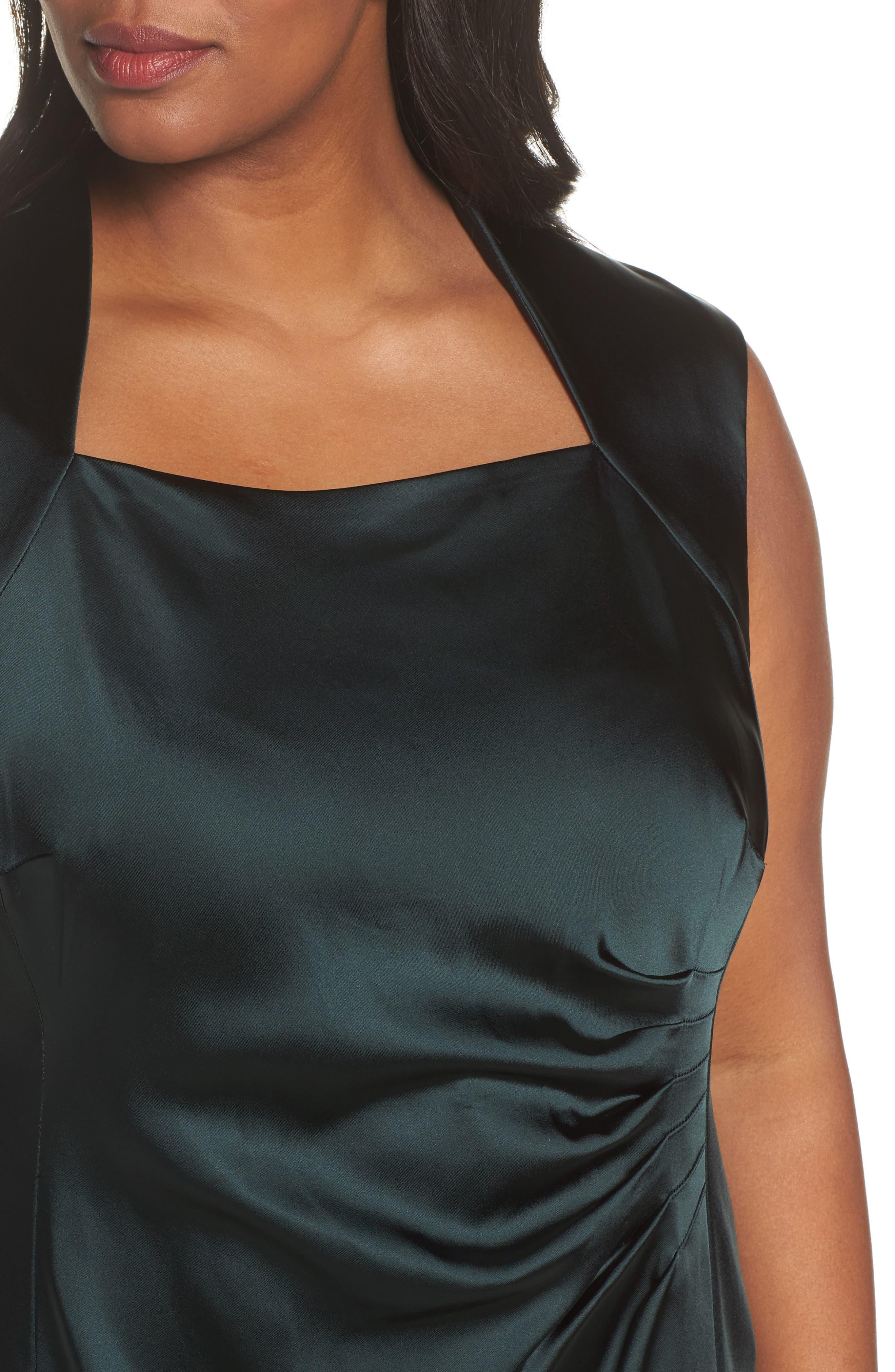 Alternate Image 4  - Tahari Side Pleat Satin Sheath Dress (Plus Size)