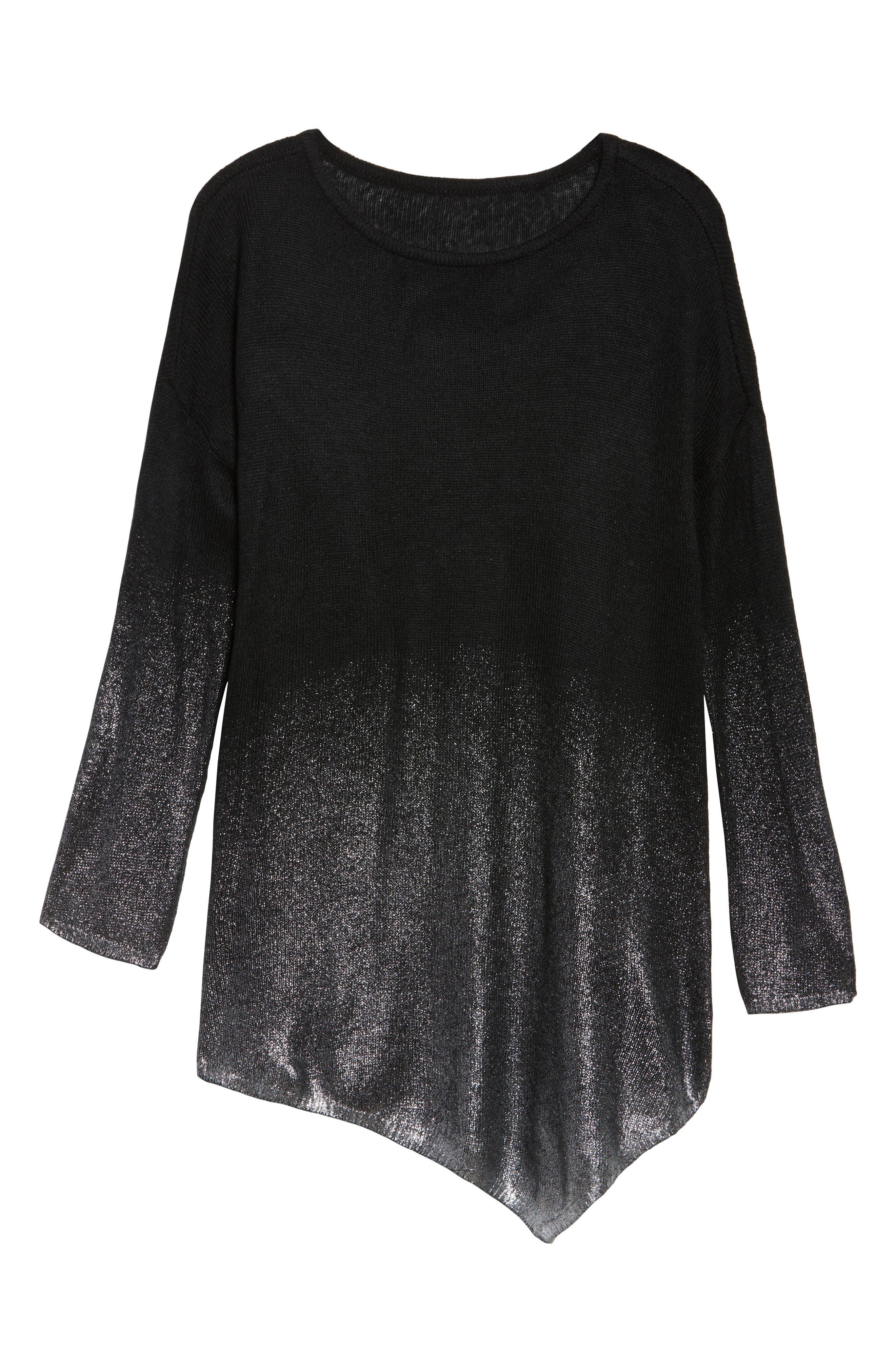 Asymmetrical Metallic Ombré Sweater,                             Alternate thumbnail 6, color,                             Rich Black