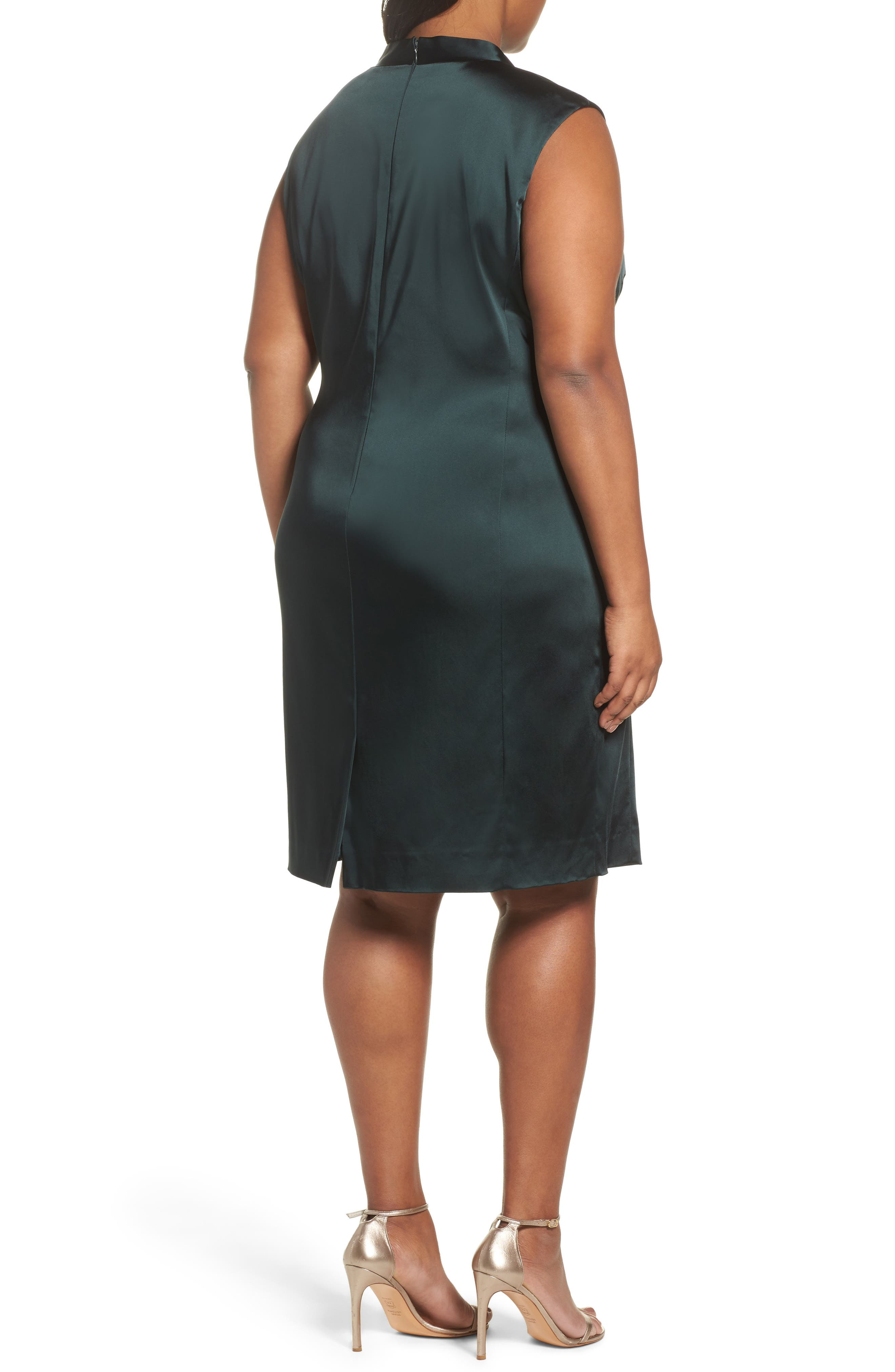 Alternate Image 2  - Tahari Side Pleat Satin Sheath Dress (Plus Size)
