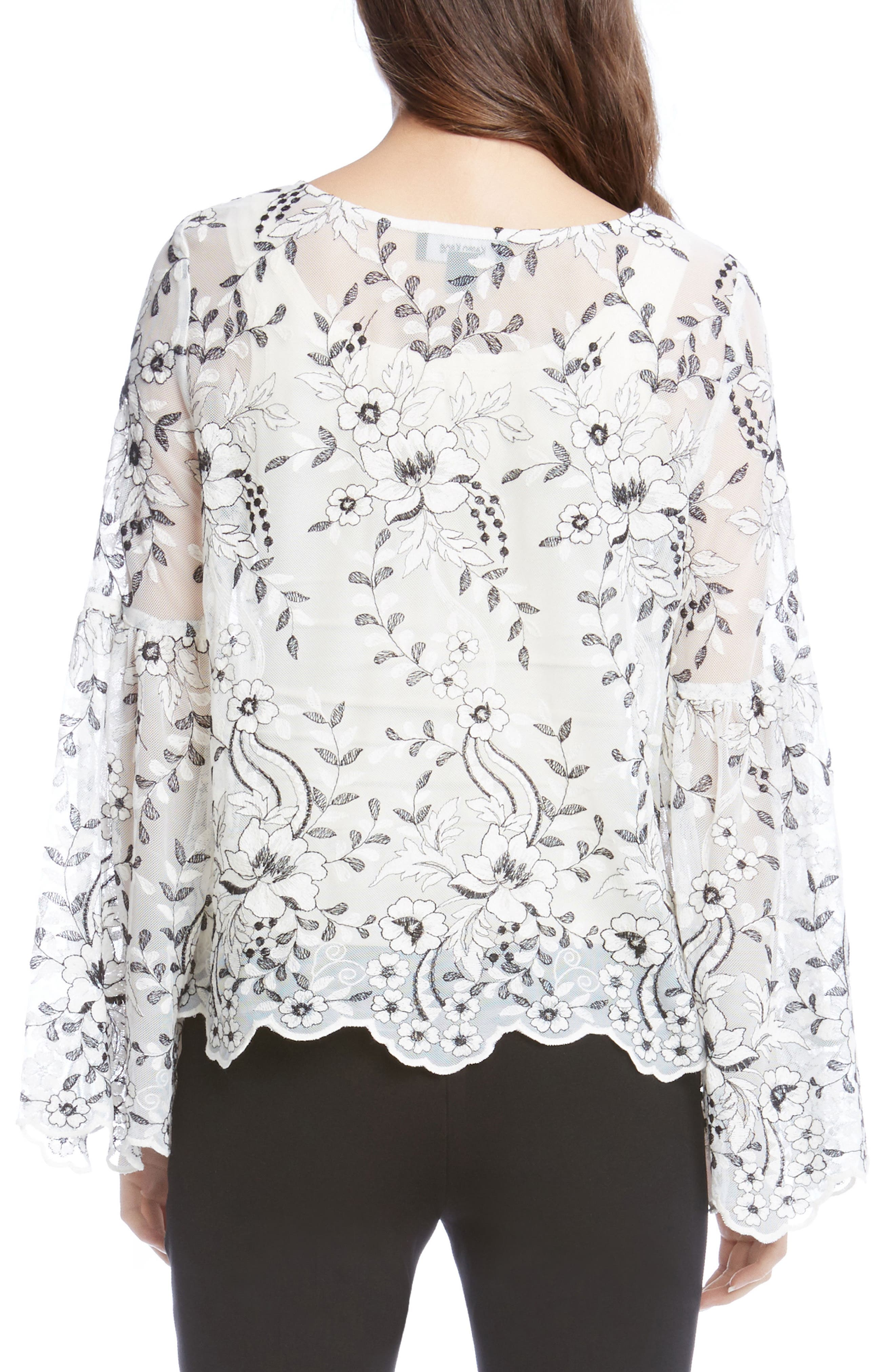 Embroidered Bell Sleeve Blouse,                             Alternate thumbnail 3, color,                             Cream W/ Black