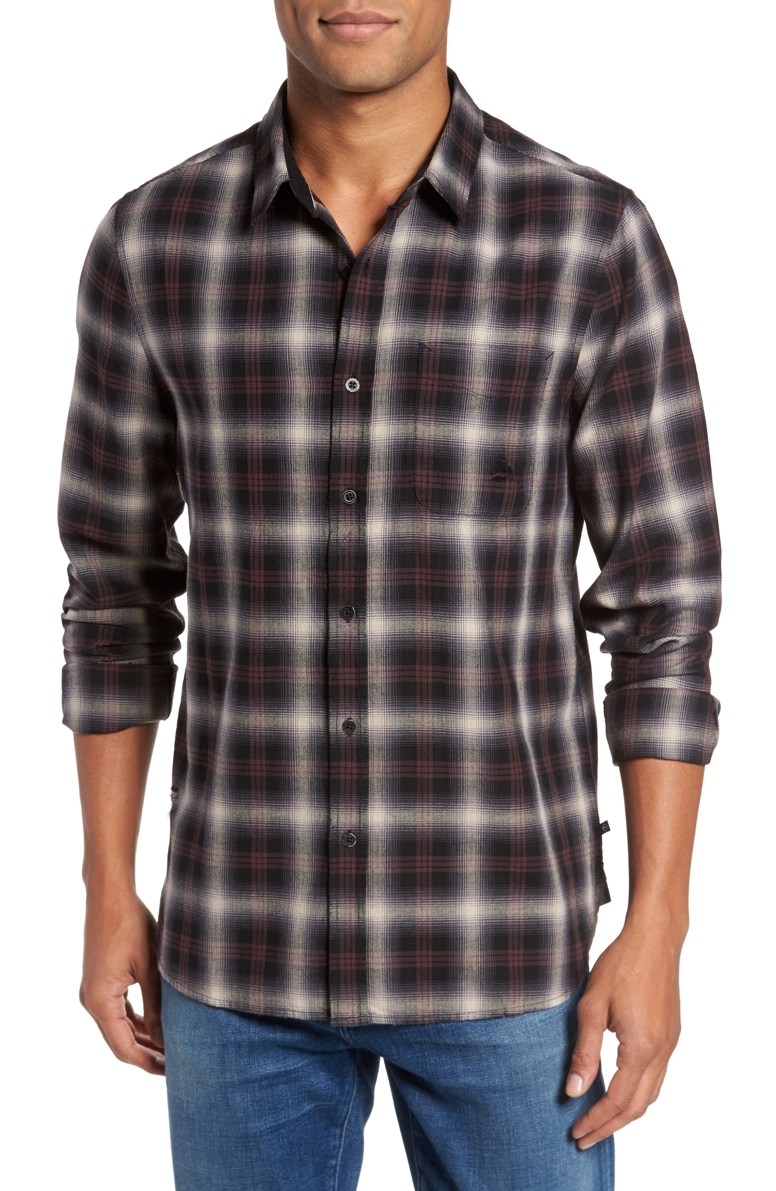 Colton Slim Fit Plaid Sport Shirt,                             Main thumbnail 1, color,                             7 Years Beige/ Deep Mahogany
