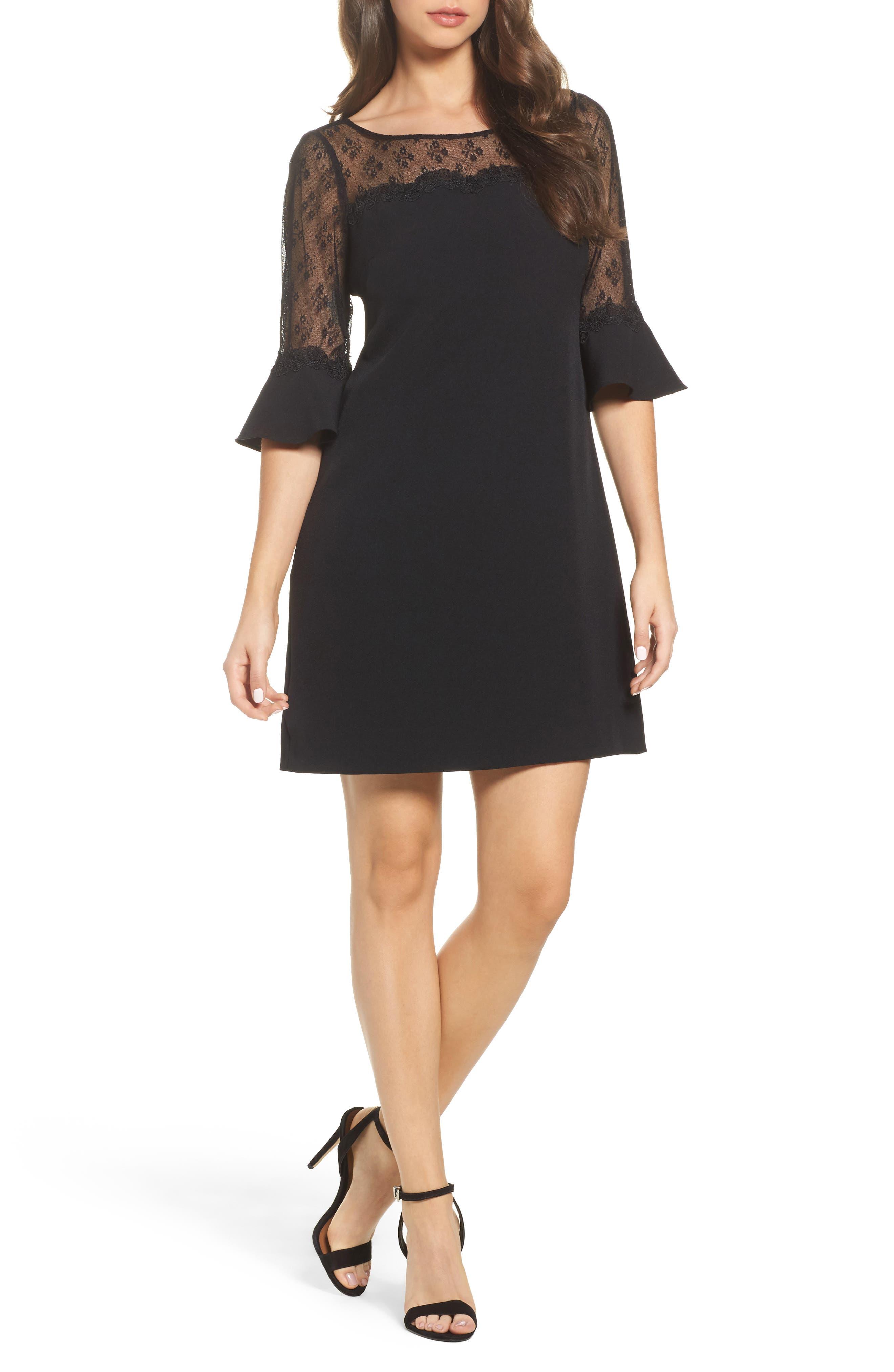 Lace & Crepe Sheath Dress,                             Main thumbnail 1, color,                             Black