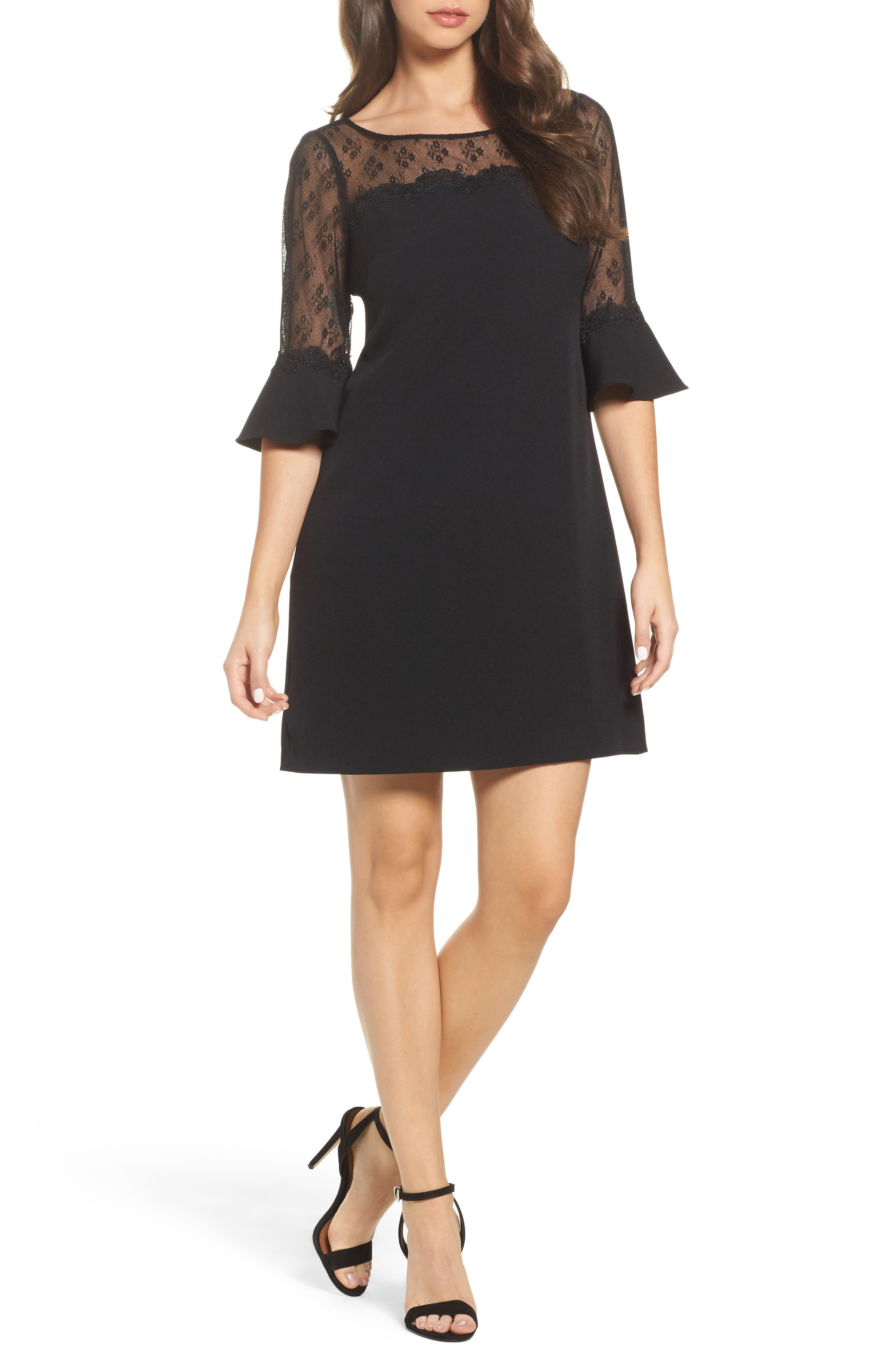 Lace & Crepe Sheath Dress,                         Main,                         color, Black
