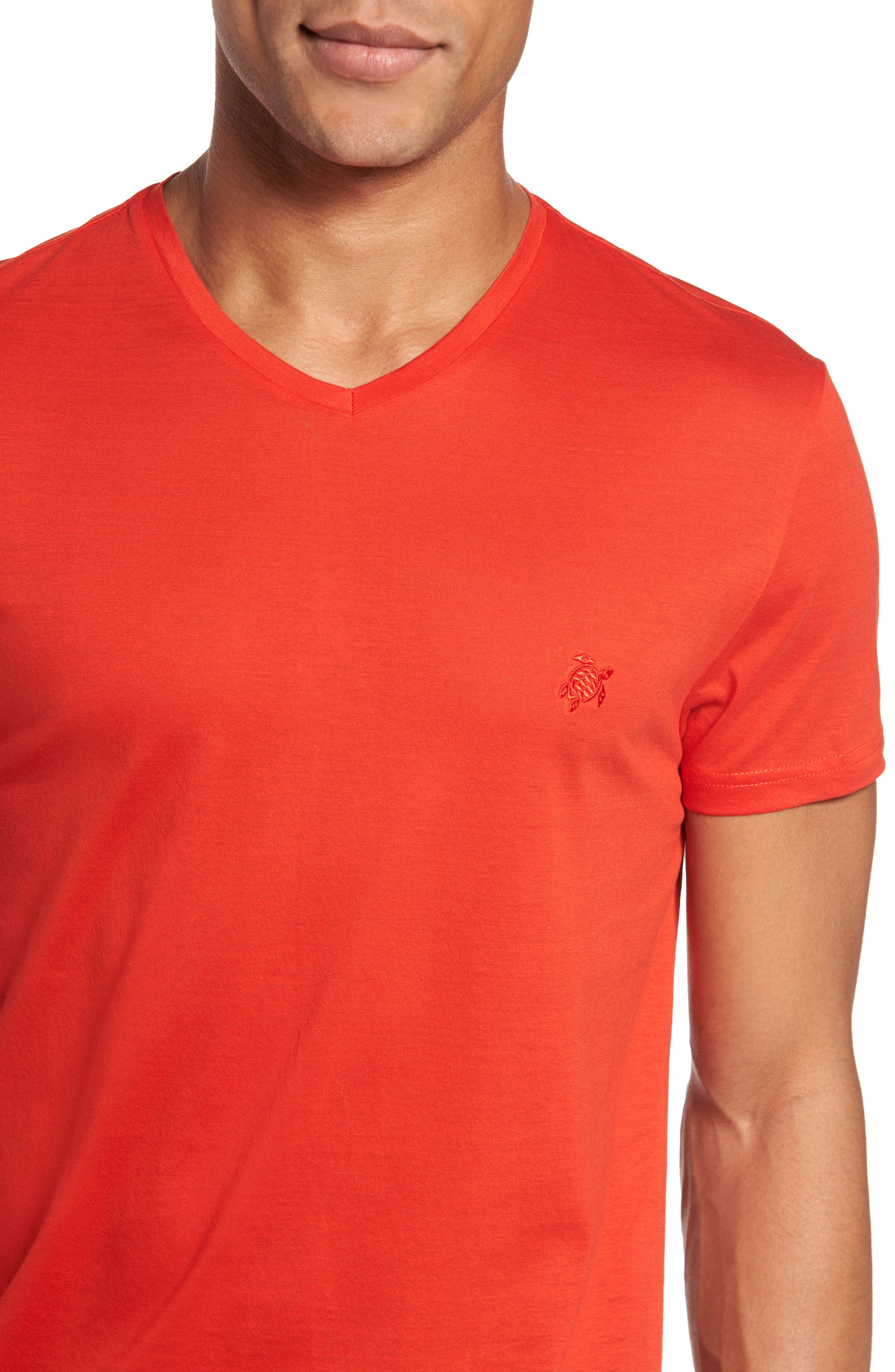 Classic Fit V-Neck T-Shirt,                             Alternate thumbnail 4, color,                             Poppy Red