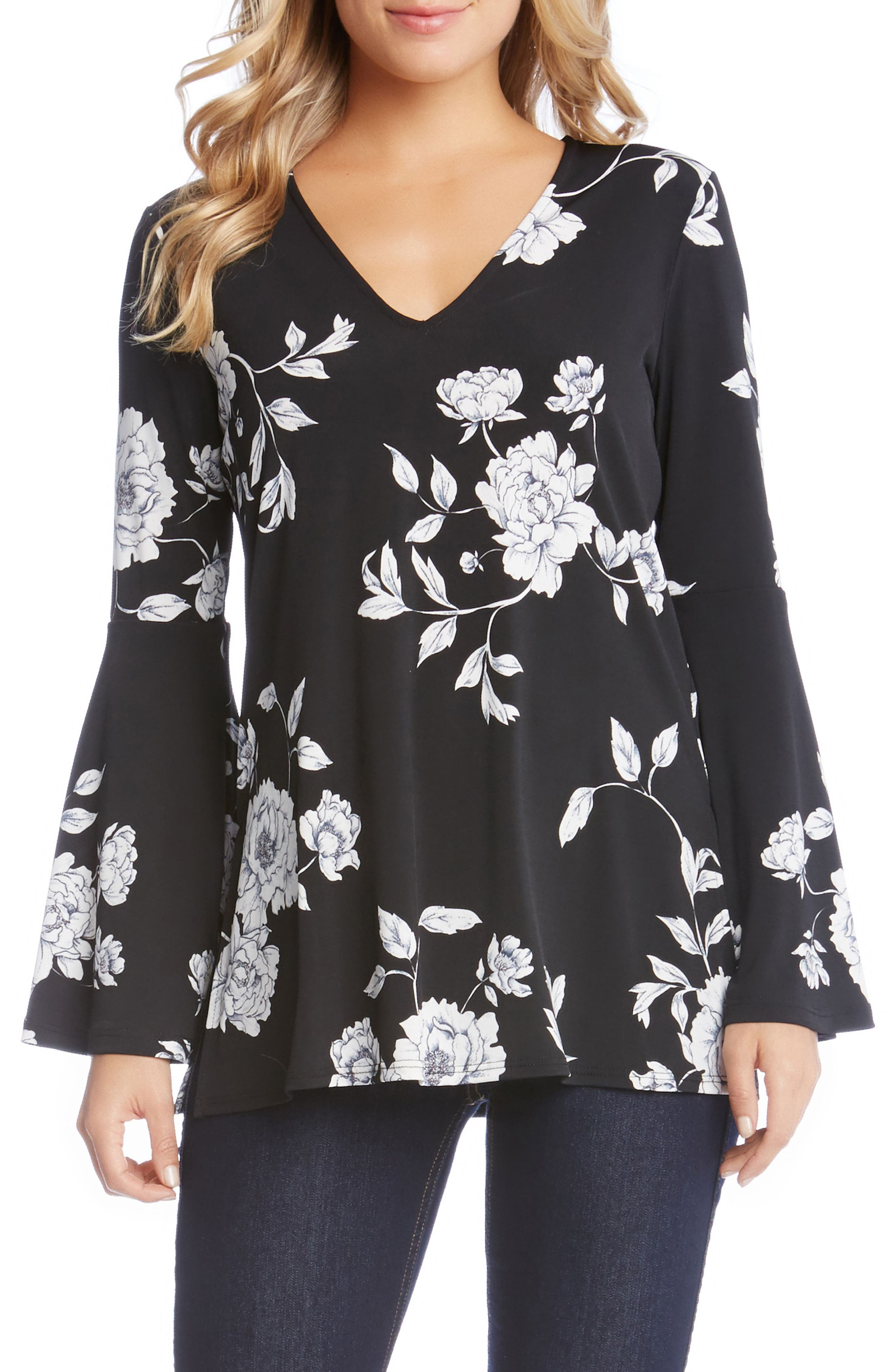 Bell Sleeve Top,                         Main,                         color, Flower