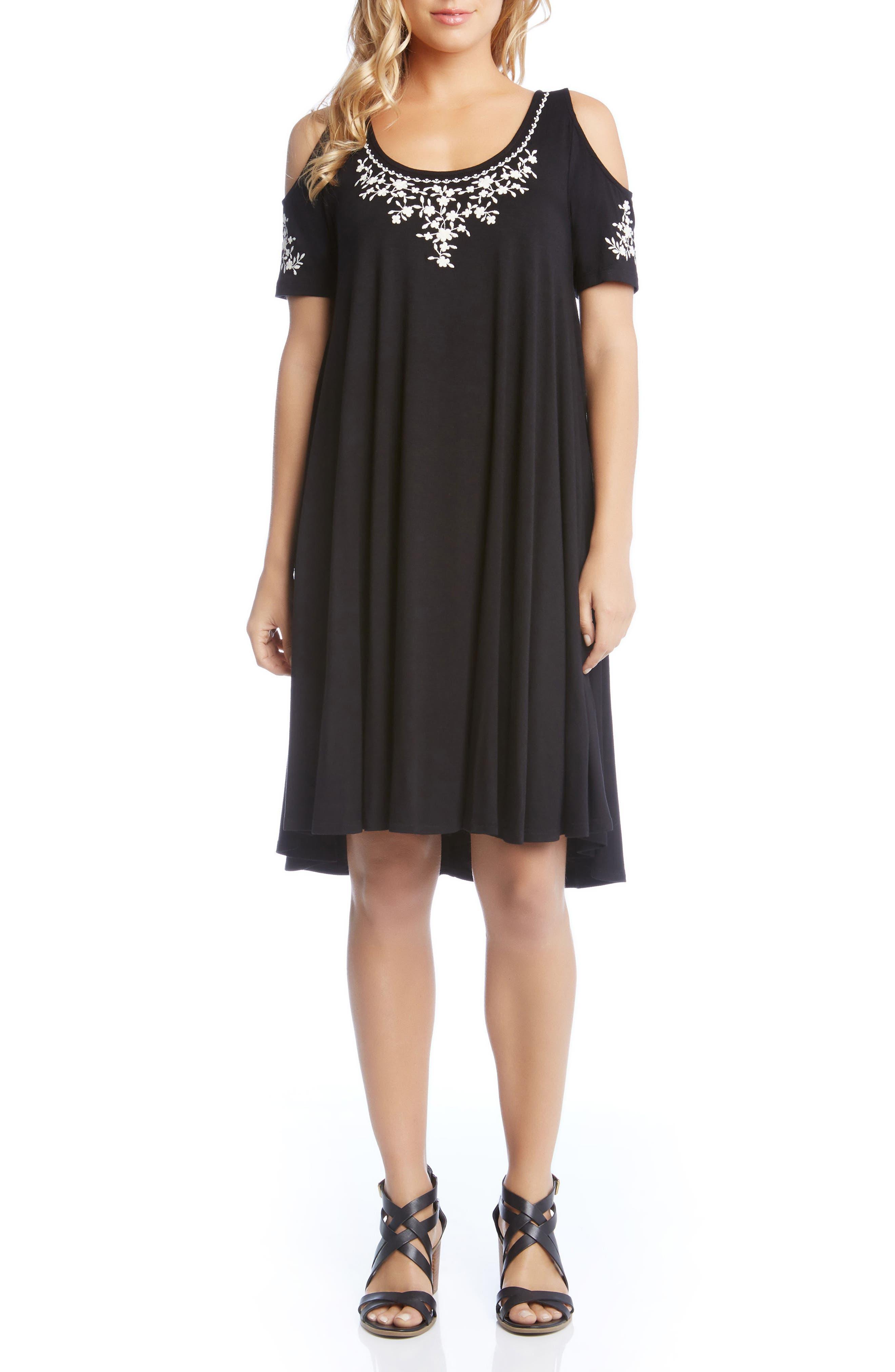 Cold Shoulder Embroidered Trapeze Dress,                             Alternate thumbnail 3, color,                             Black W/ Cream