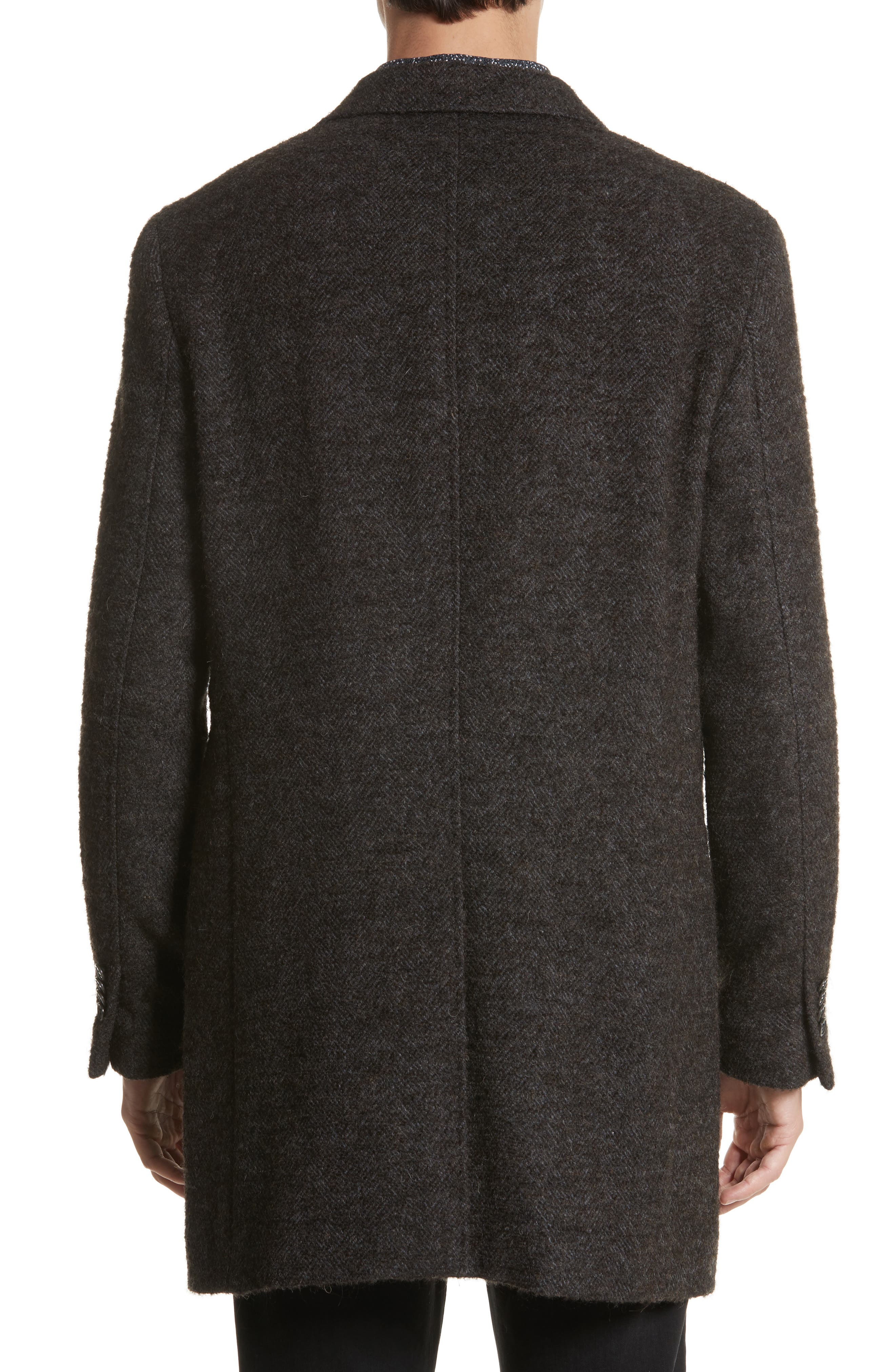 Walsh Wool Blend Topcoat,                             Alternate thumbnail 2, color,                             Brown/ White