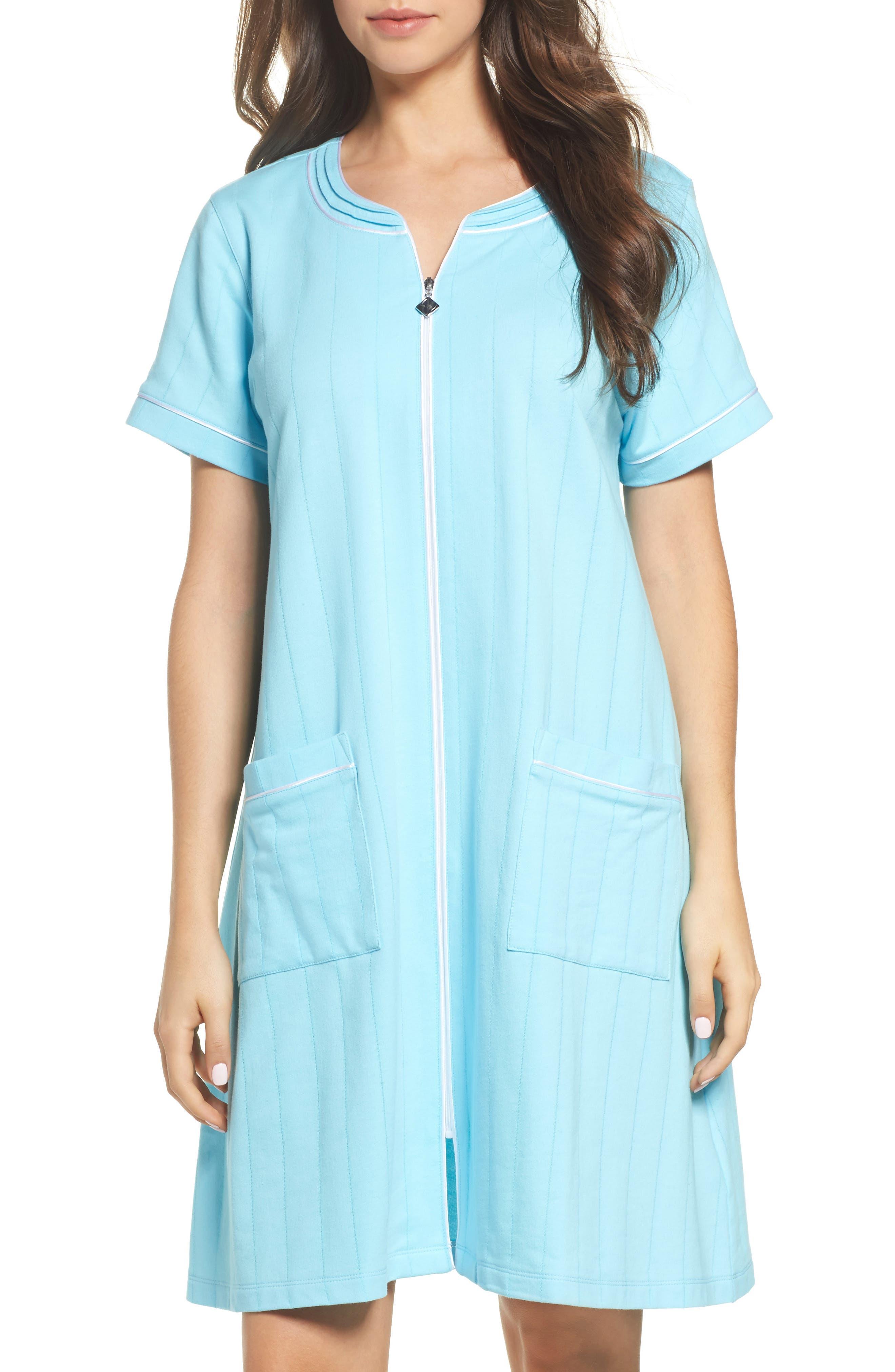 Short Zip Robe,                         Main,                         color, Aqua