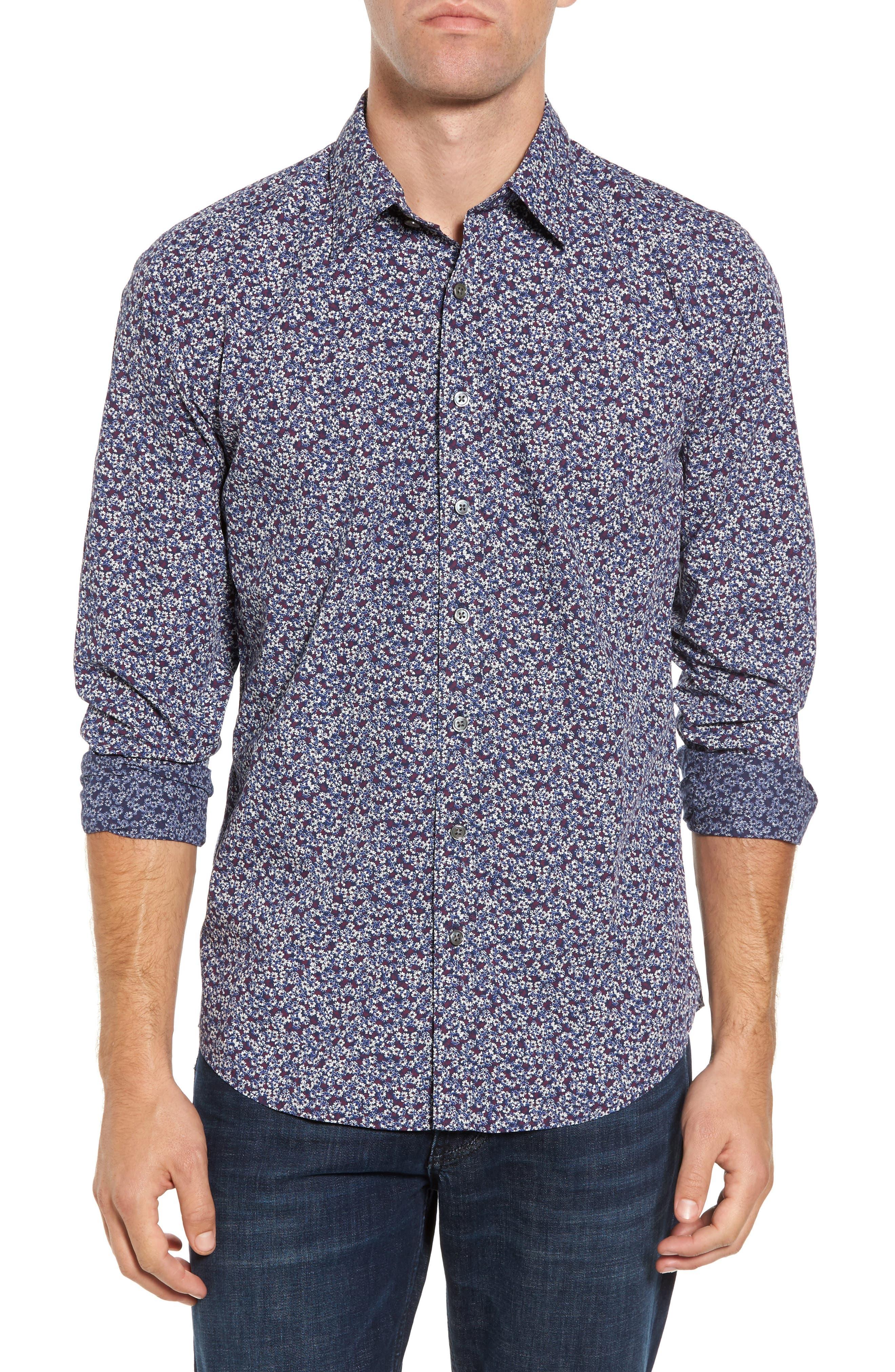 Double Bay Floral Sport Shirt,                         Main,                         color, Royal
