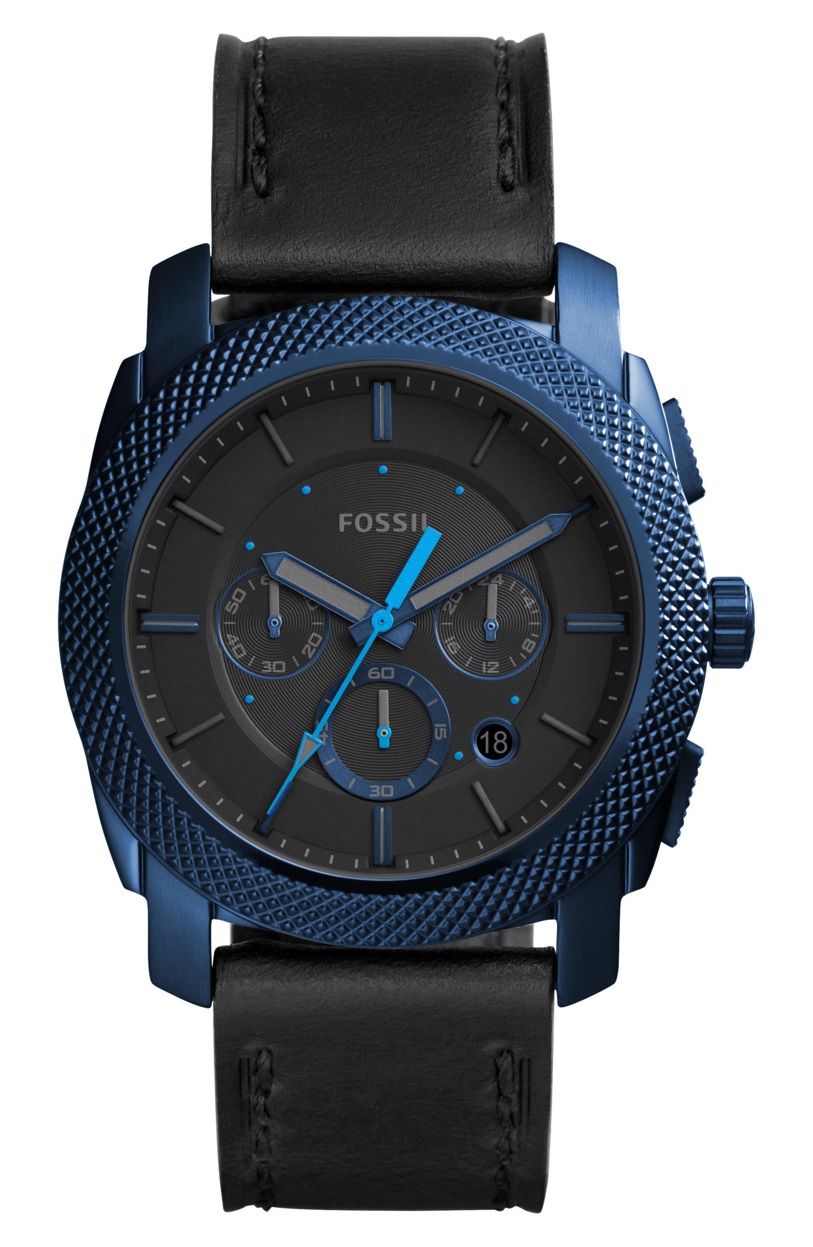 Machine Chronograph Bracelet Watch, 45mm,                         Main,                         color, Black/ Blue