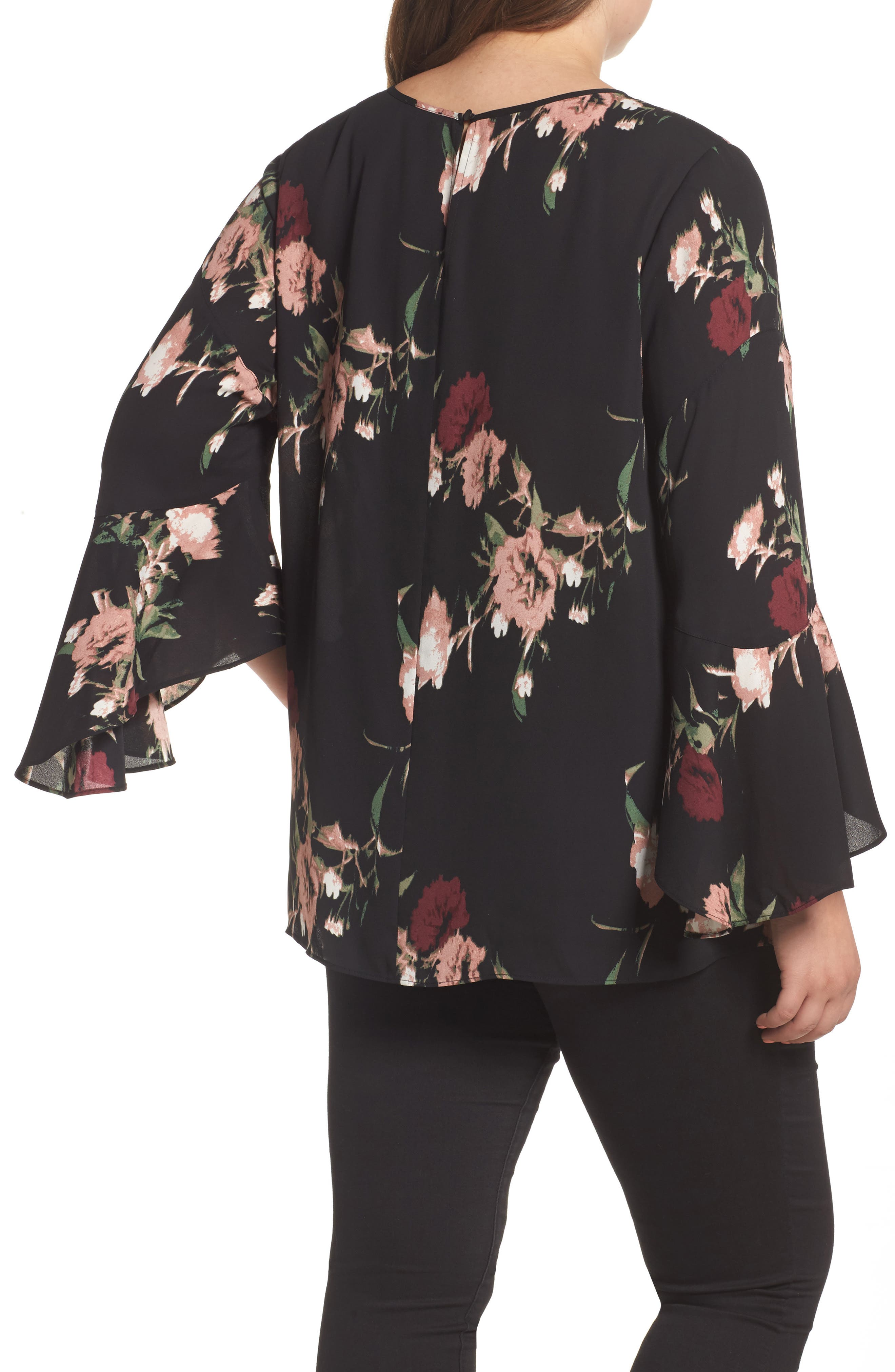 Windswept Bouquet Bell Sleeve Blouse,                             Alternate thumbnail 3, color,                             Iced Rose