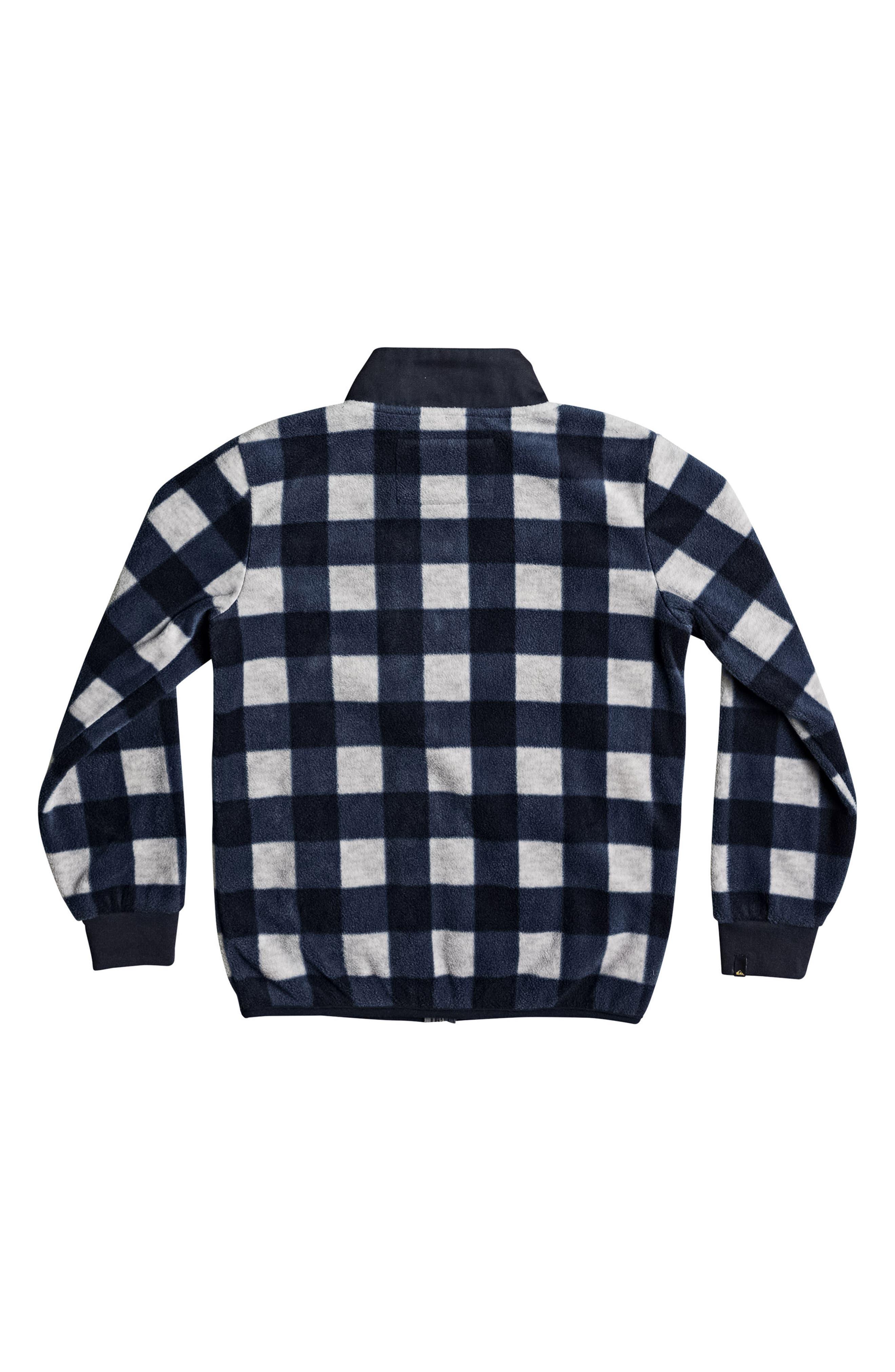Turbo Speed Buffalo Check Fleece Jacket,                             Alternate thumbnail 2, color,                             Navy Blazer