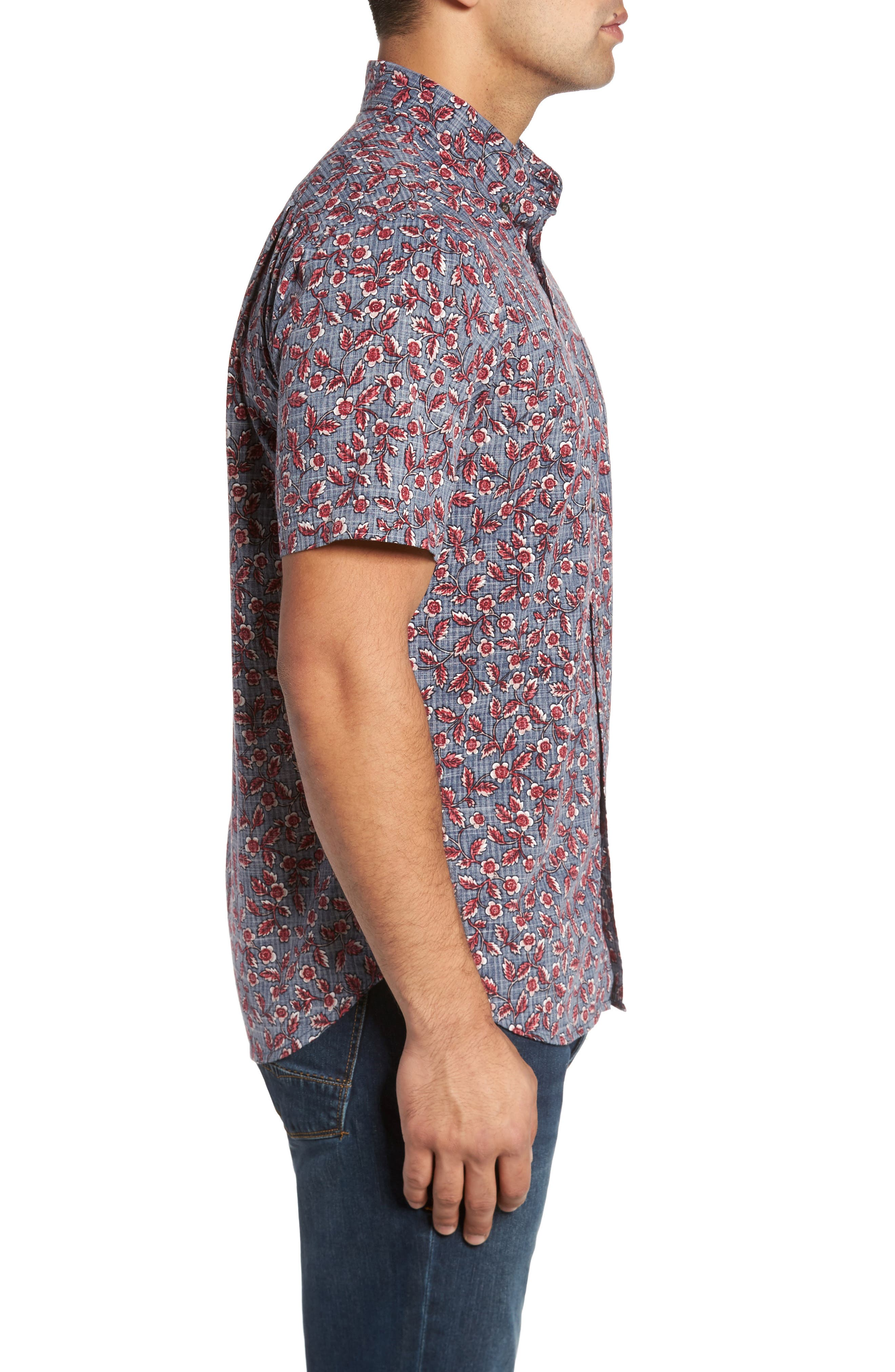 Upcountry Floral Regular Fit Sport Shirt,                             Alternate thumbnail 3, color,                             Navy