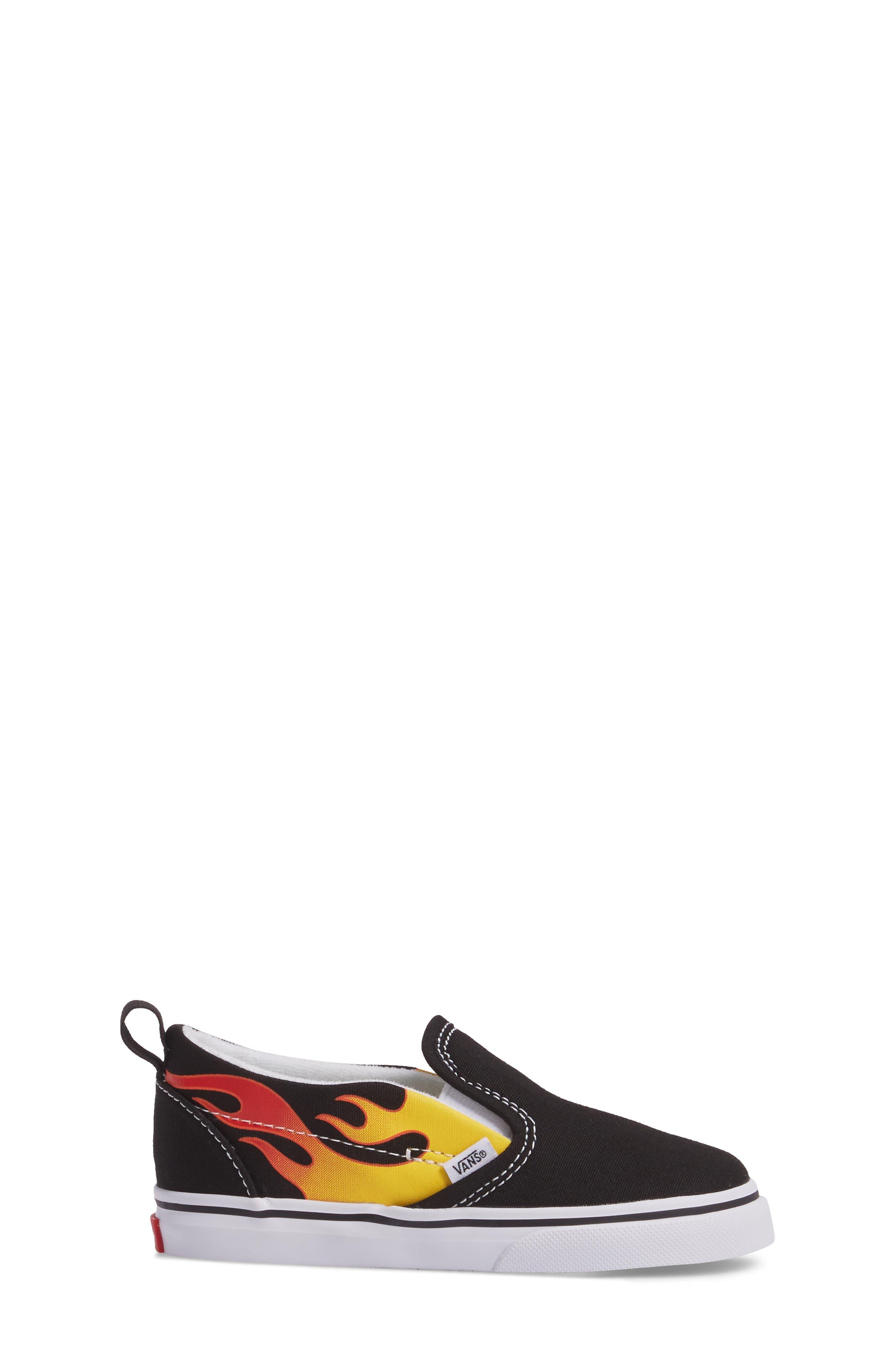 Slip-On V Sneaker,                             Alternate thumbnail 3, color,                             Flame Black/ True White