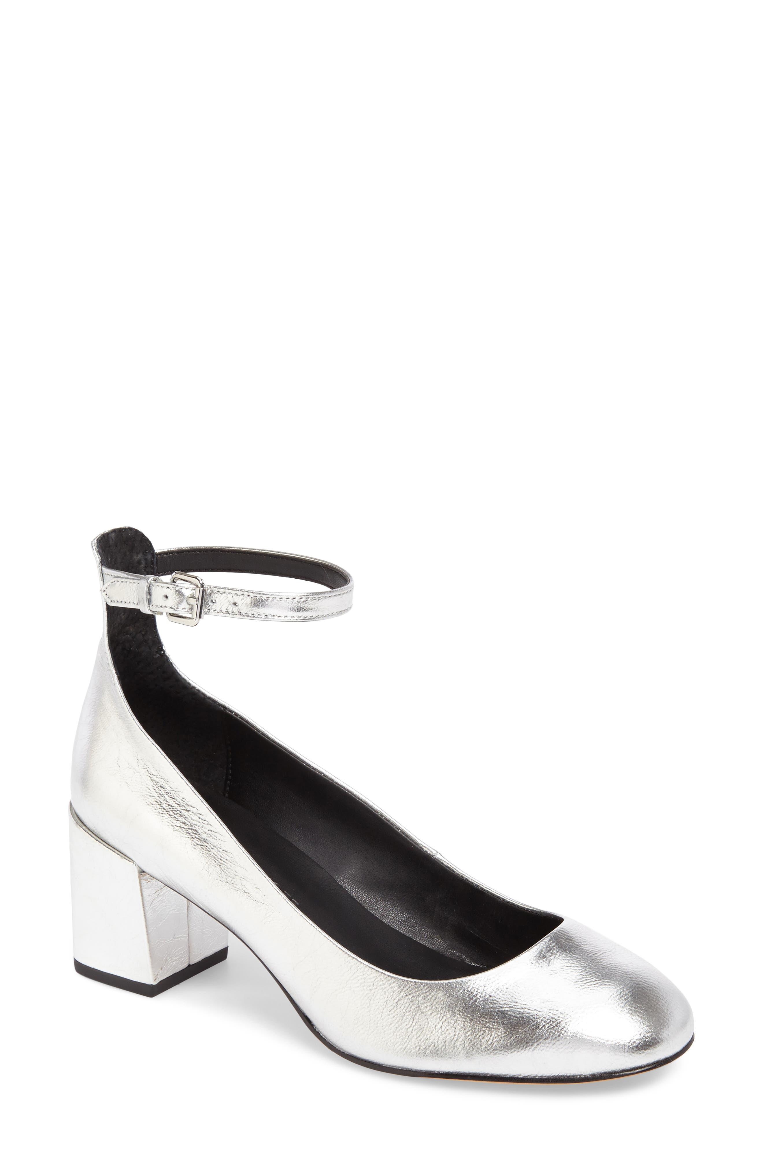 Bridget Ankle Strap Pump,                         Main,                         color, Silver Leather