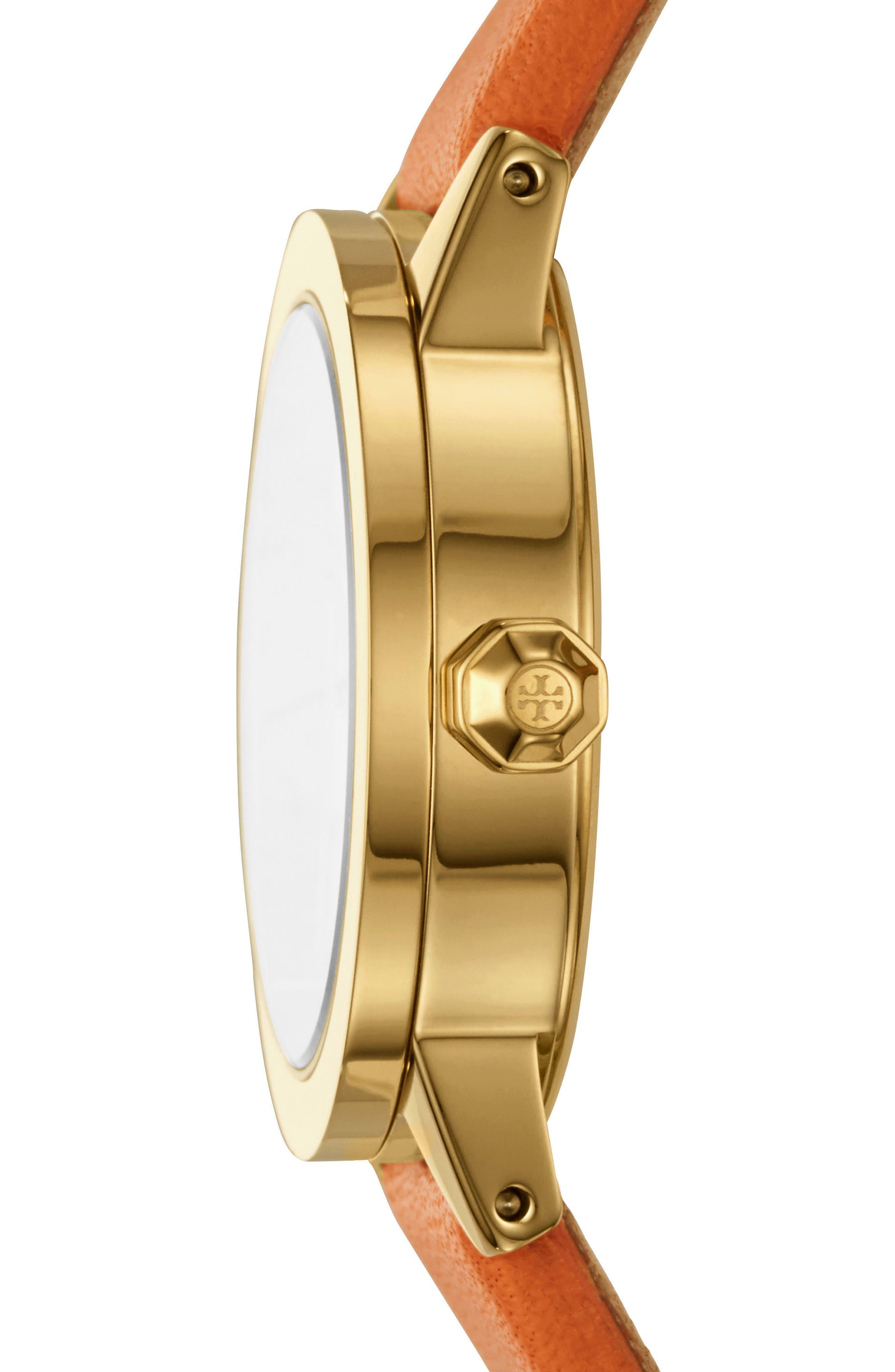 Gigi Leather Strap Watch, 28mm,                             Alternate thumbnail 2, color,                             Lilium/ Ivory/ Gold
