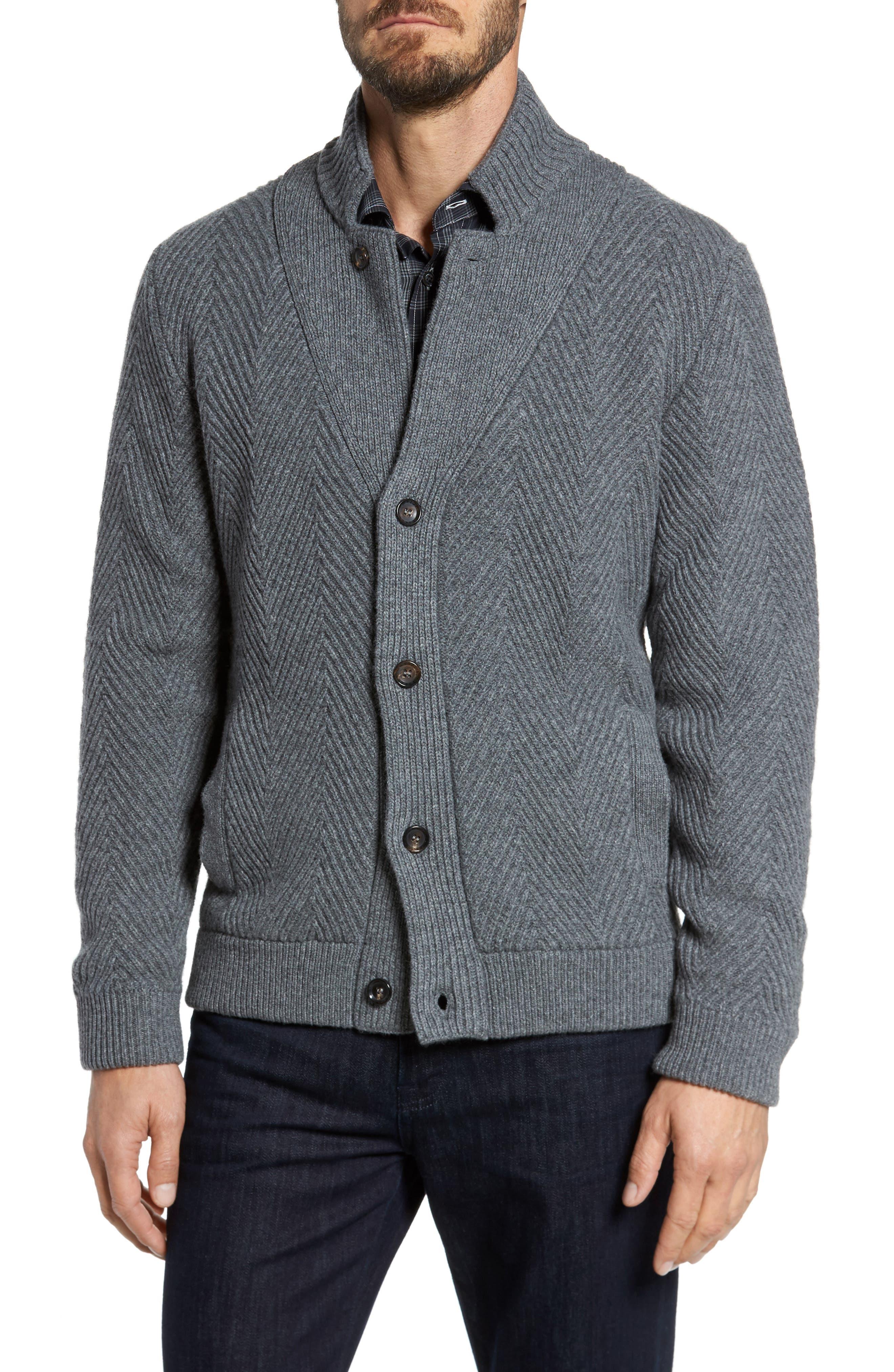 Luciano Barbera Herringbone Wool & Cashmere Cardigan