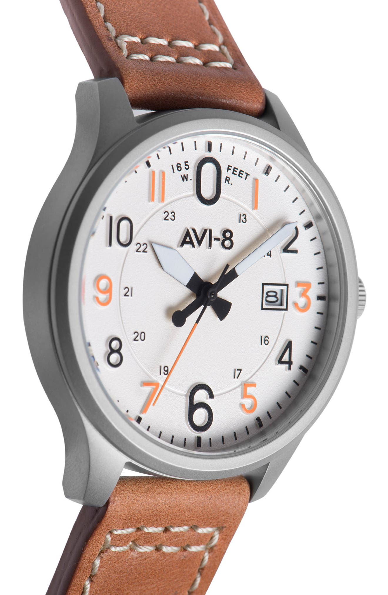 Hawker Hurricane Leather Strap Watch, 43mm,                             Alternate thumbnail 3, color,                             White/ Tan