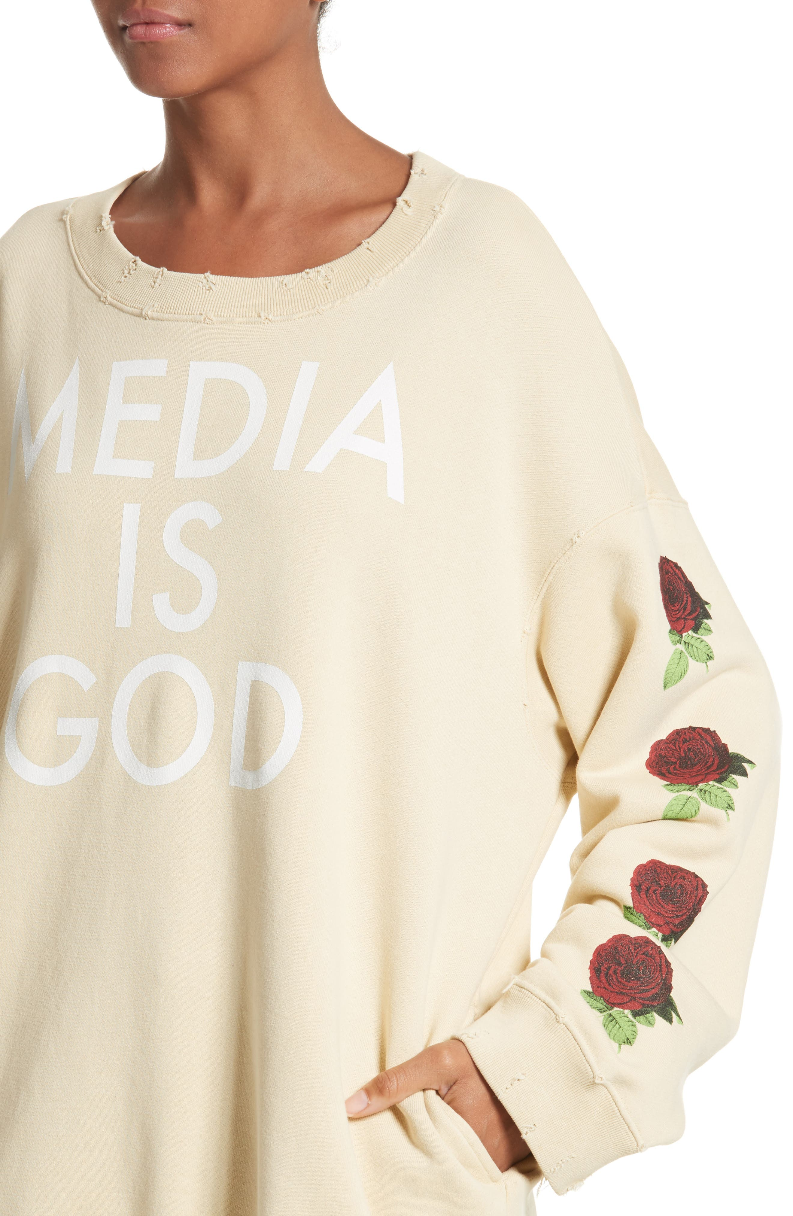 Media Is God Sweatshirt,                             Alternate thumbnail 4, color,                             Cream