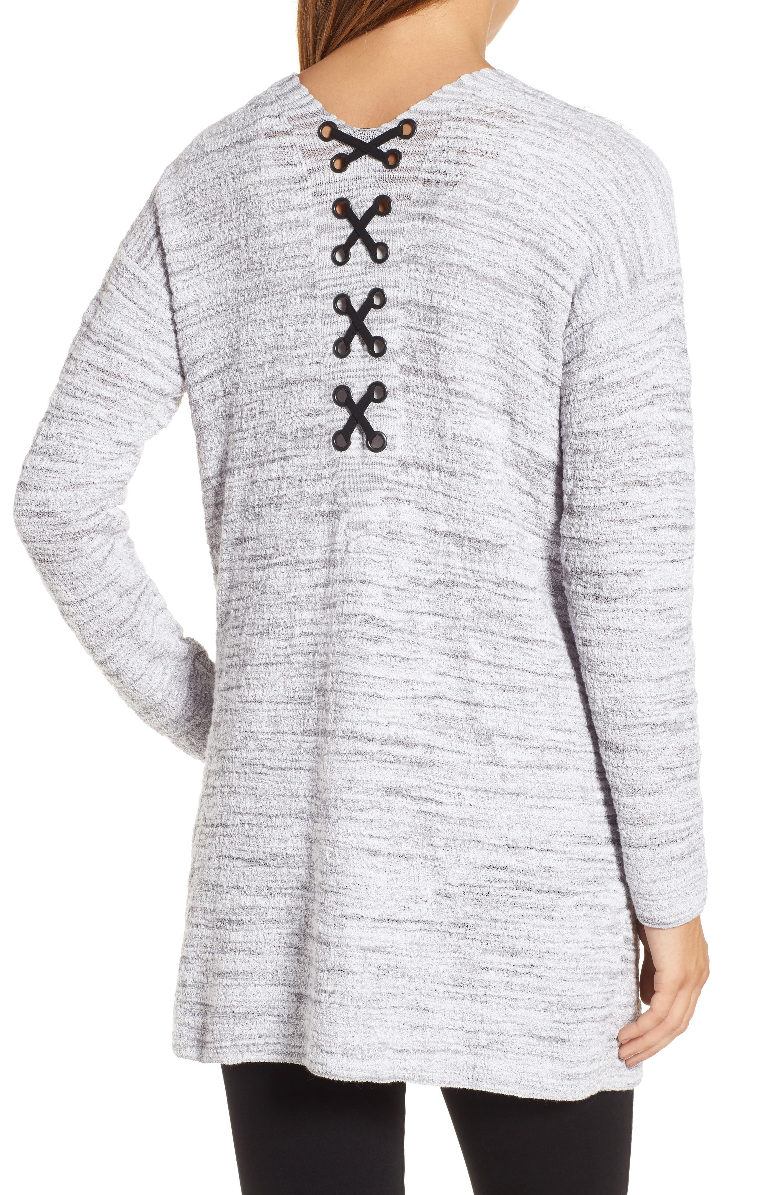 Lace It Back Cardigan,                             Alternate thumbnail 2, color,                             Icy Grey
