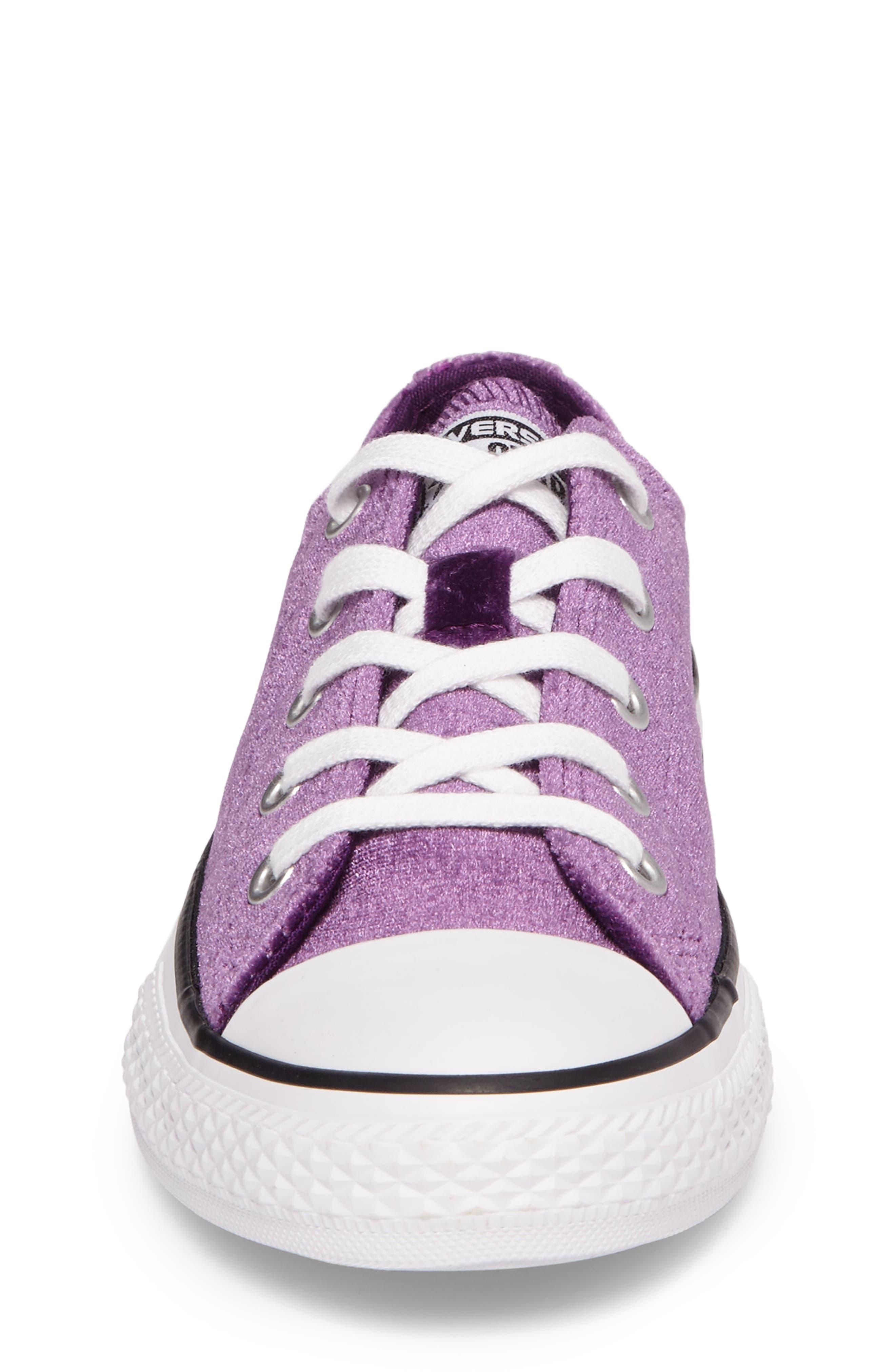 Chuck Taylor<sup>®</sup> All Star<sup>®</sup> Velvet OX Low Top Sneaker,                             Alternate thumbnail 4, color,                             Night Purple Velvet