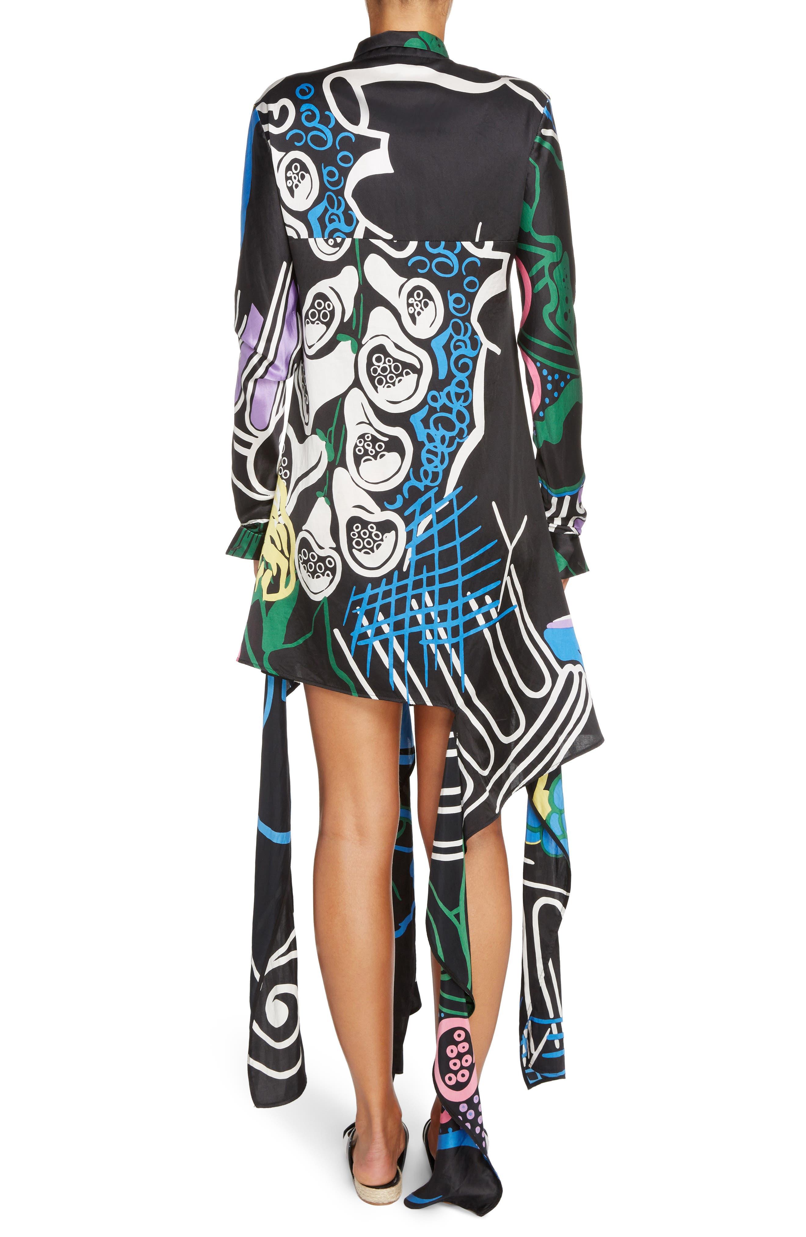 Foxglove Print Dress with Ribbon Detail,                             Alternate thumbnail 2, color,                             Black Foxglove Print