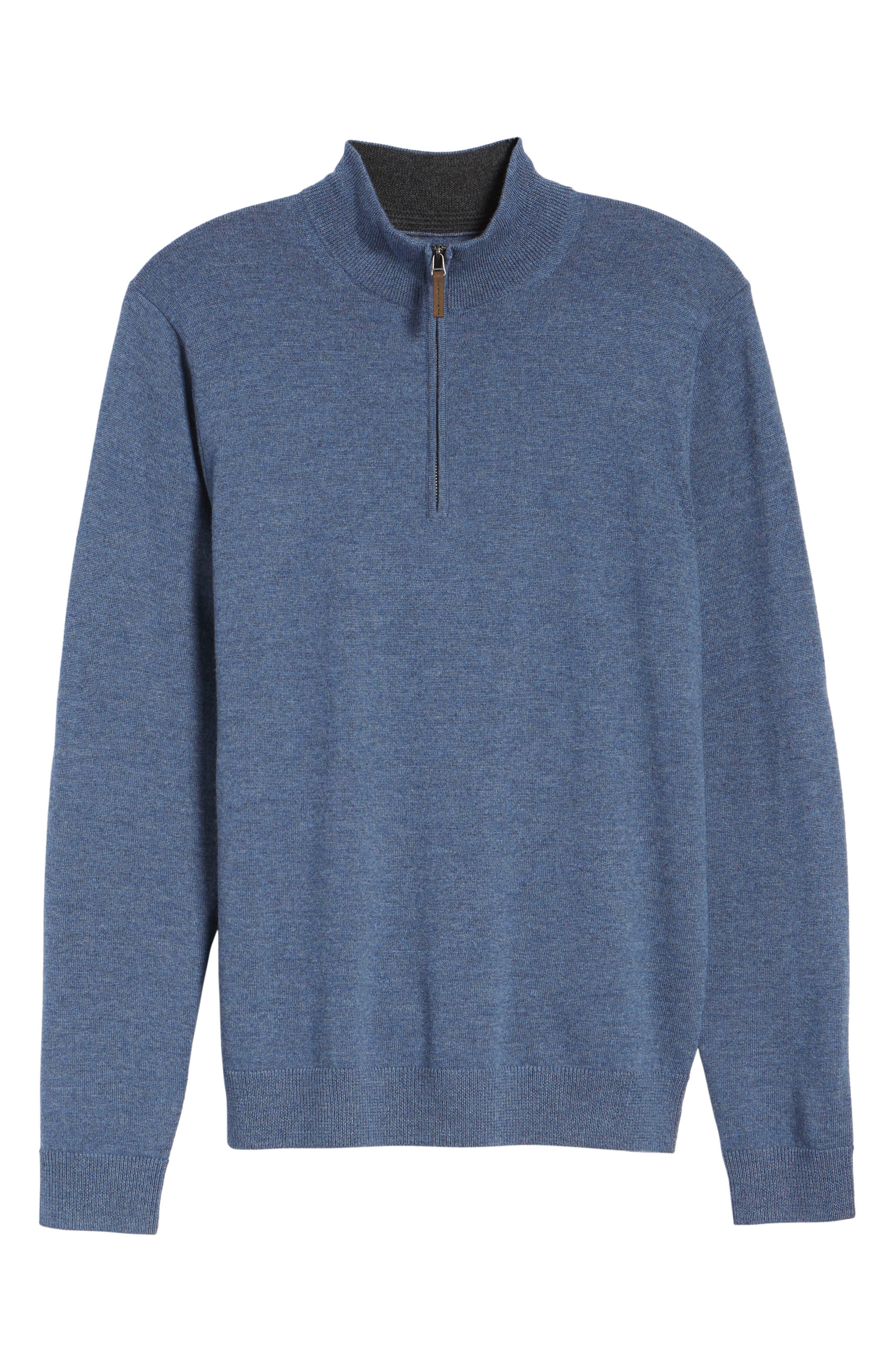Quarter Zip Merino Wool Pullover,                             Alternate thumbnail 6, color,                             Navy Crown