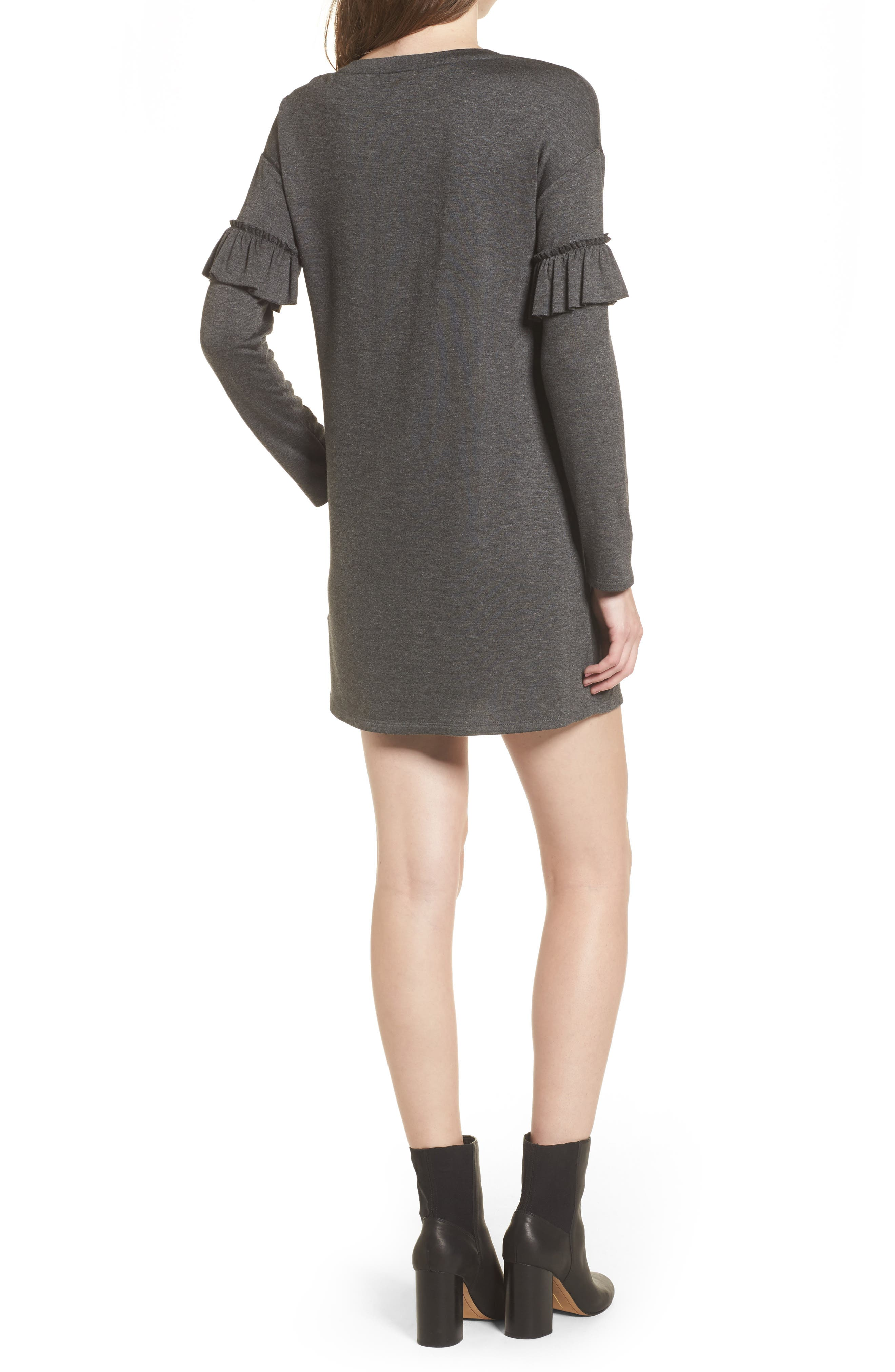 Ruffle Sleeve Sweater Dress,                             Alternate thumbnail 2, color,                             Charcoal