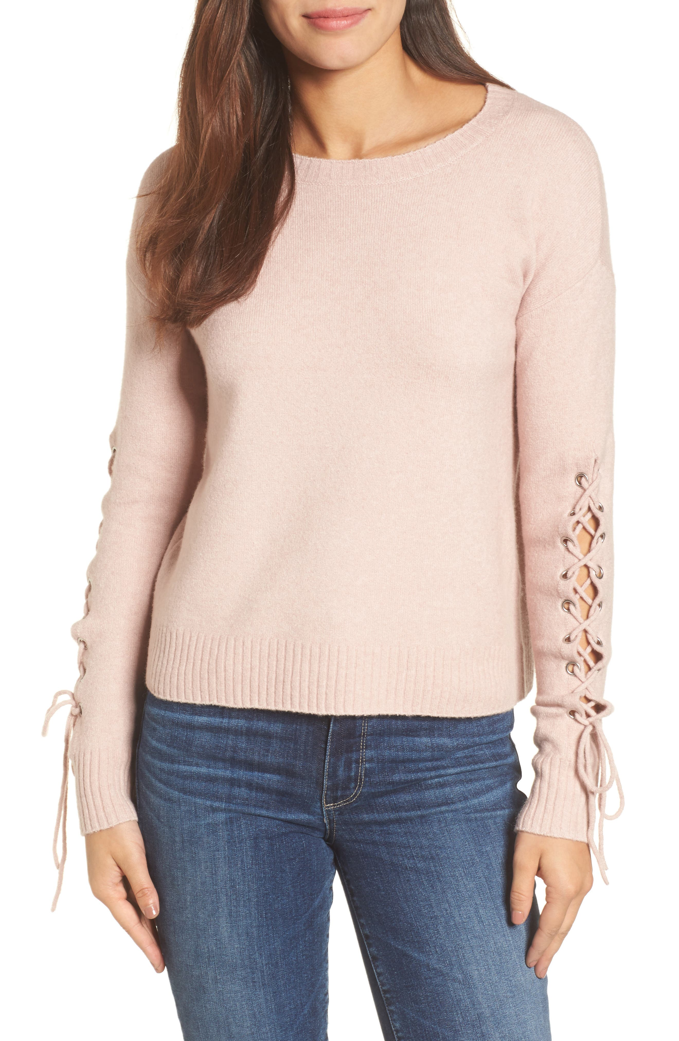 Lace-Up Sleeve Sweater,                         Main,                         color, Pink Adobe